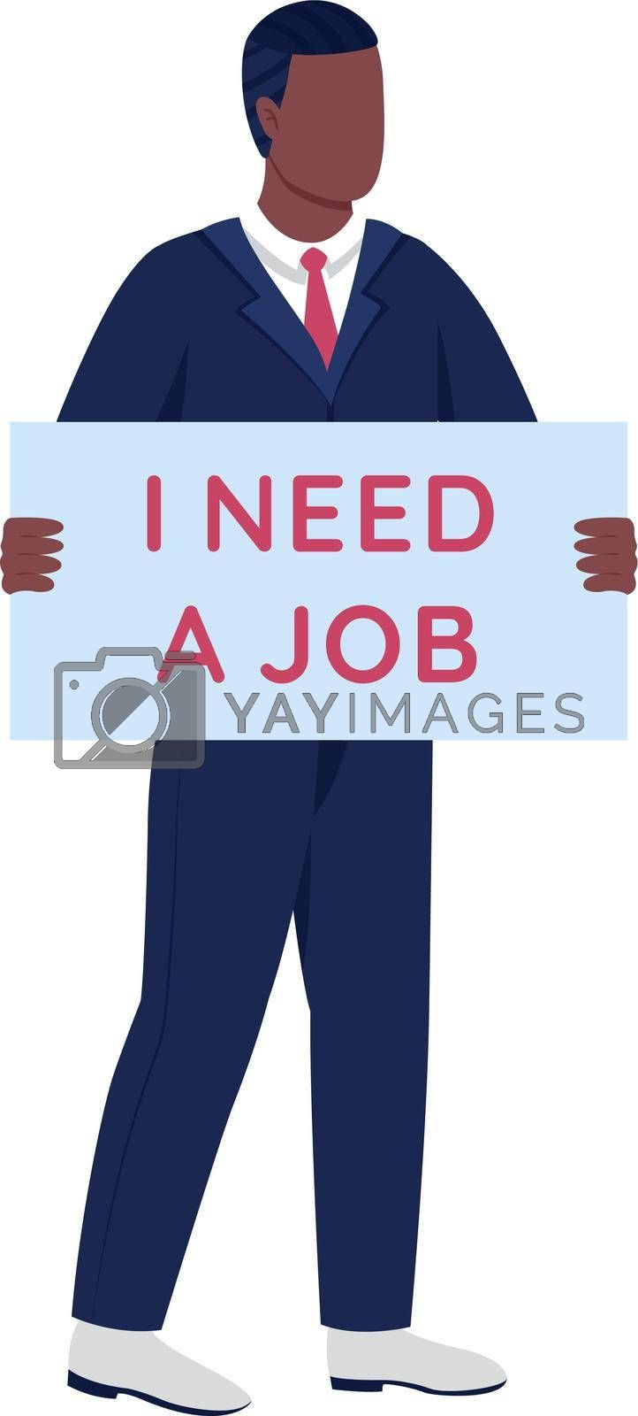 Royalty free image of Jobless african american man with cardboard sign flat color vector faceless character by ntl