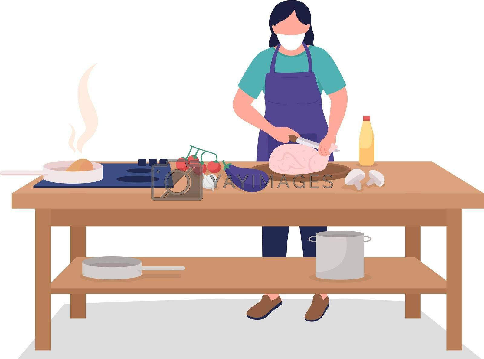 Royalty free image of Female chef in face mask flat color vector faceless character by ntl
