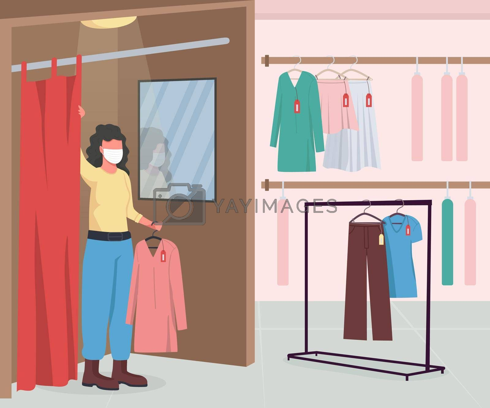 Royalty free image of Clothing shop during epidemic flat color vector illustration by ntl