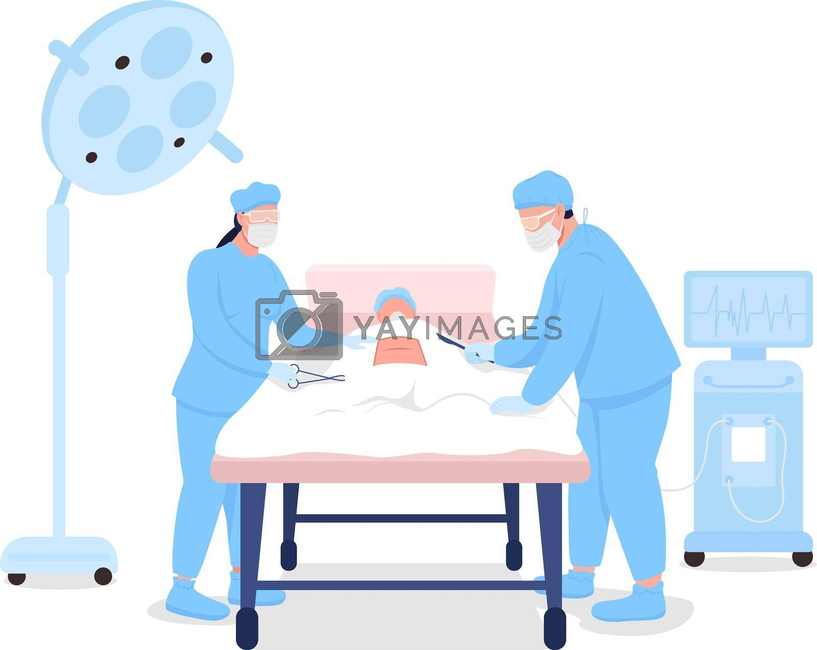 Royalty free image of Doctors at surgical procedure flat color vector faceless characters by ntl