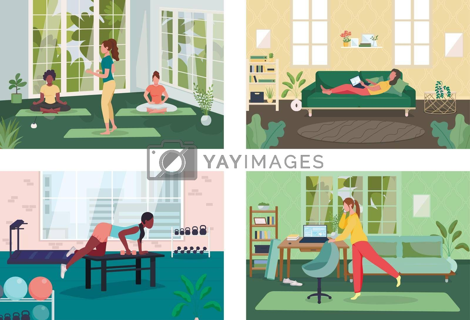 Royalty free image of Employee healthy lifestyle flat color vector illustration set by ntl