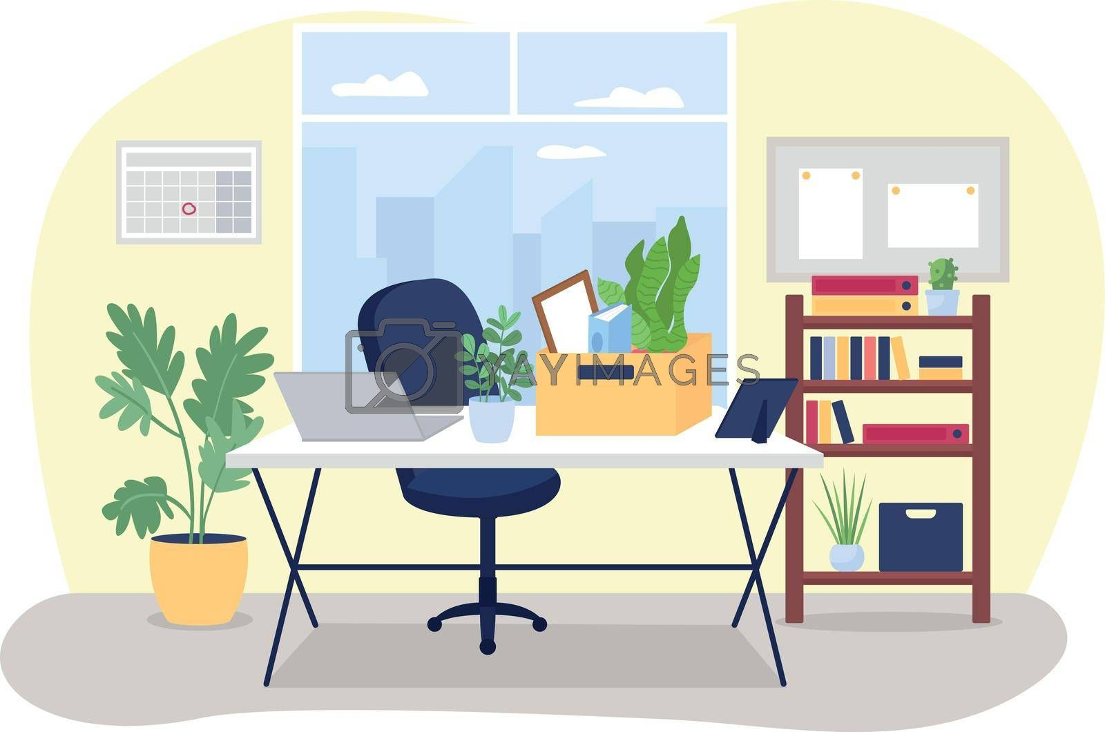 Royalty free image of Workplace desk with box of stationery 2D vector web banner, poster by ntl