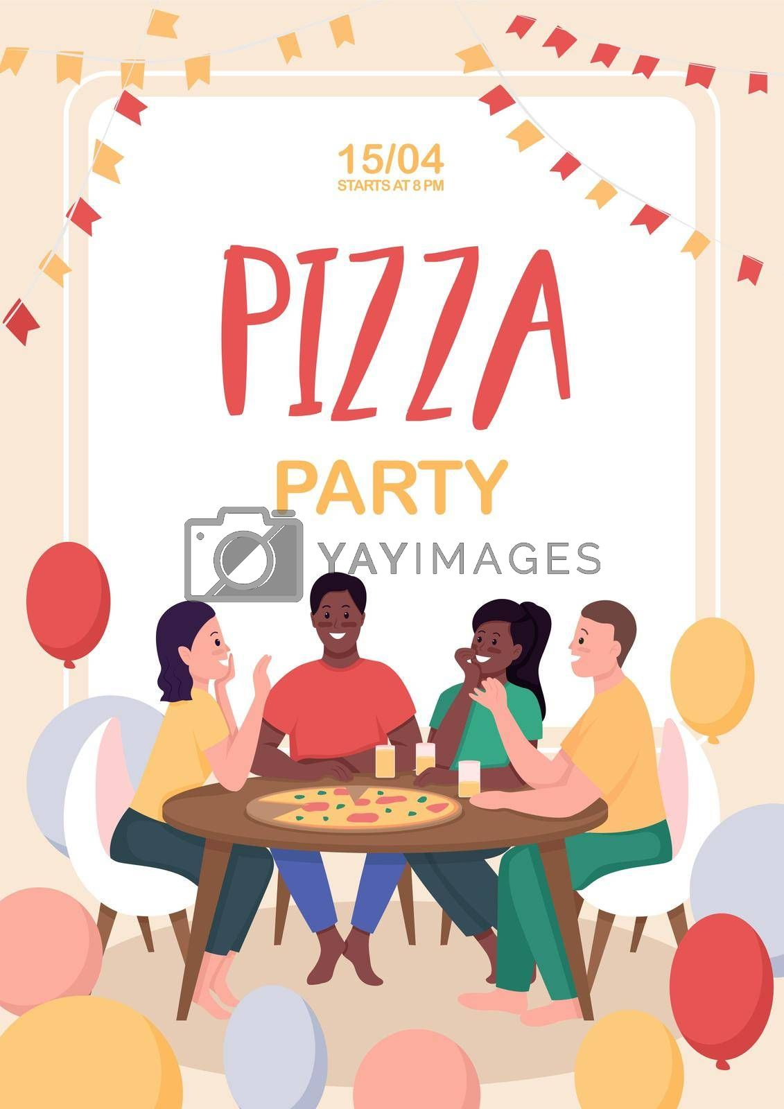 Royalty free image of Friends at pizza party poster flat vector template by ntl
