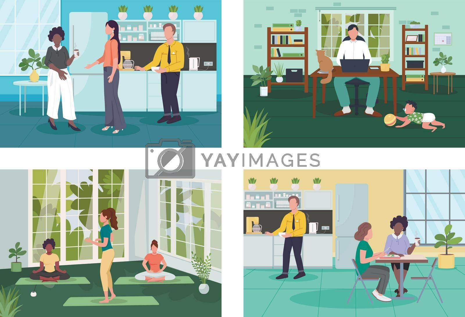 Royalty free image of Corporate wellness flat color vector illustration set by ntl