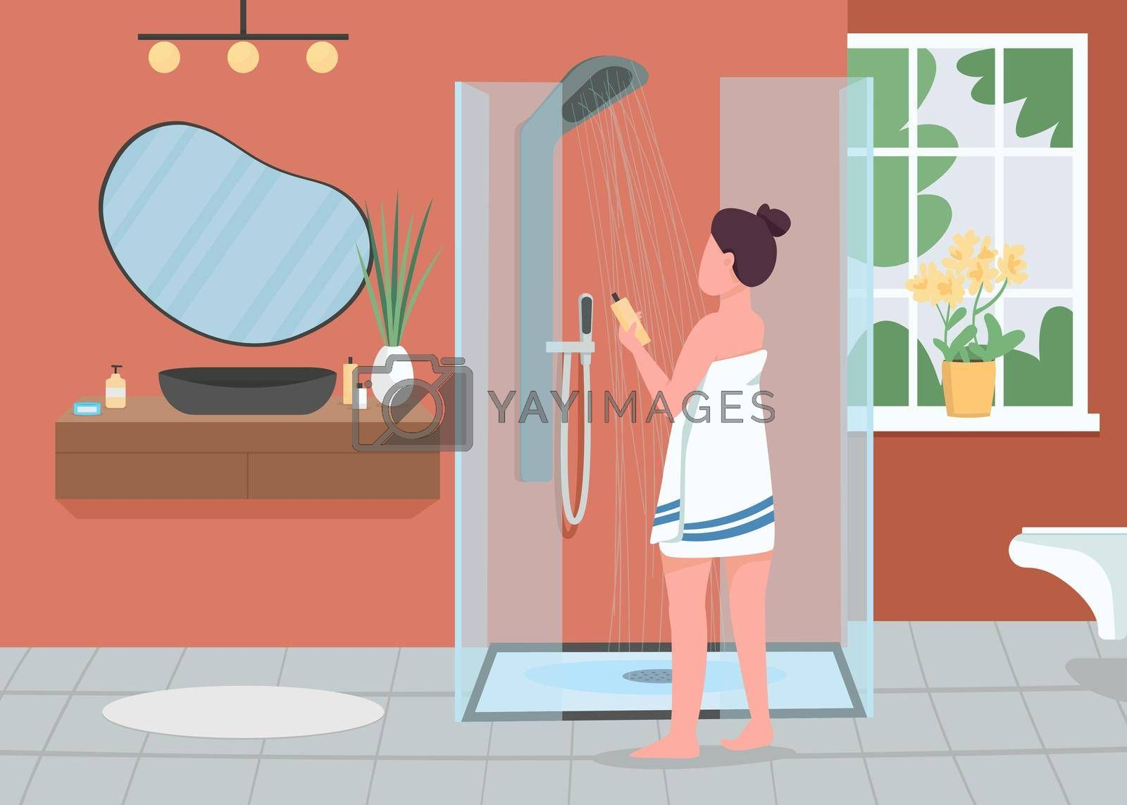 Royalty free image of Daily hygiene routine flat color vector illustration by ntl