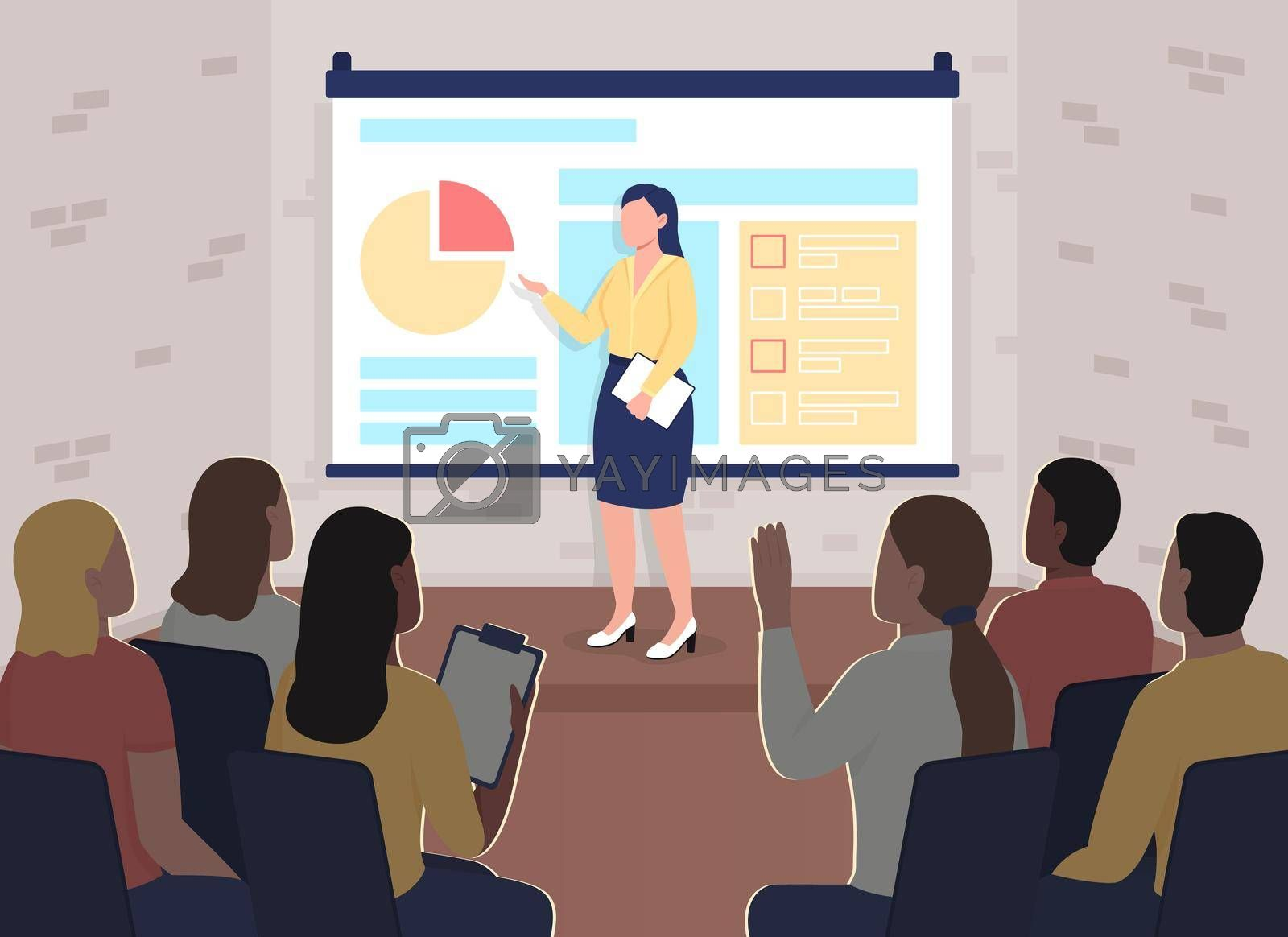 Royalty free image of Marketing training conference flat color vector illustration by ntl