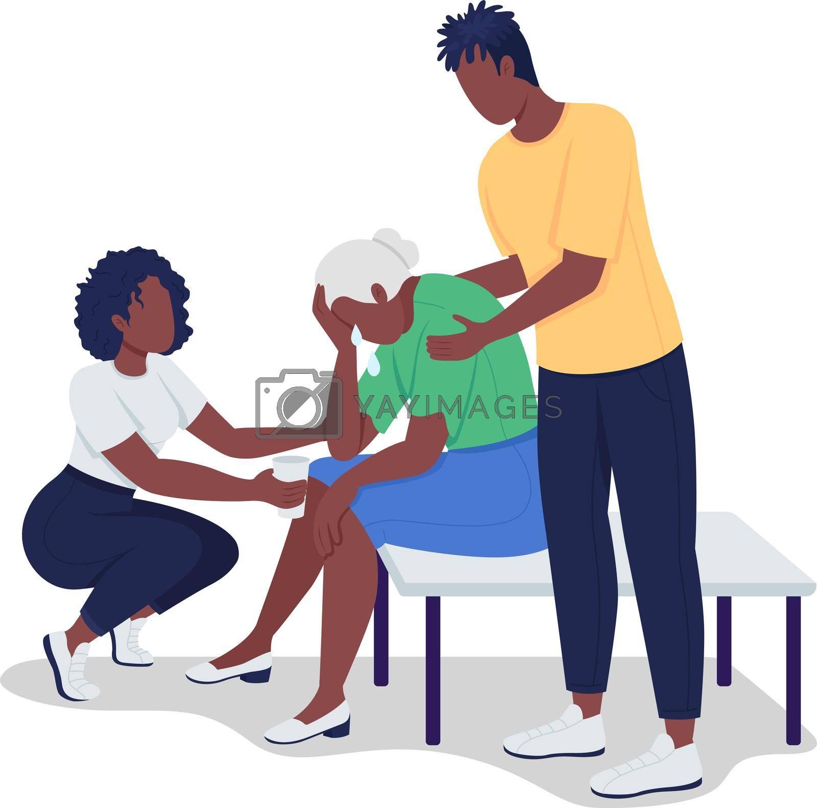 Royalty free image of Teens comfort elderly woman semi flat color vector characters by ntl