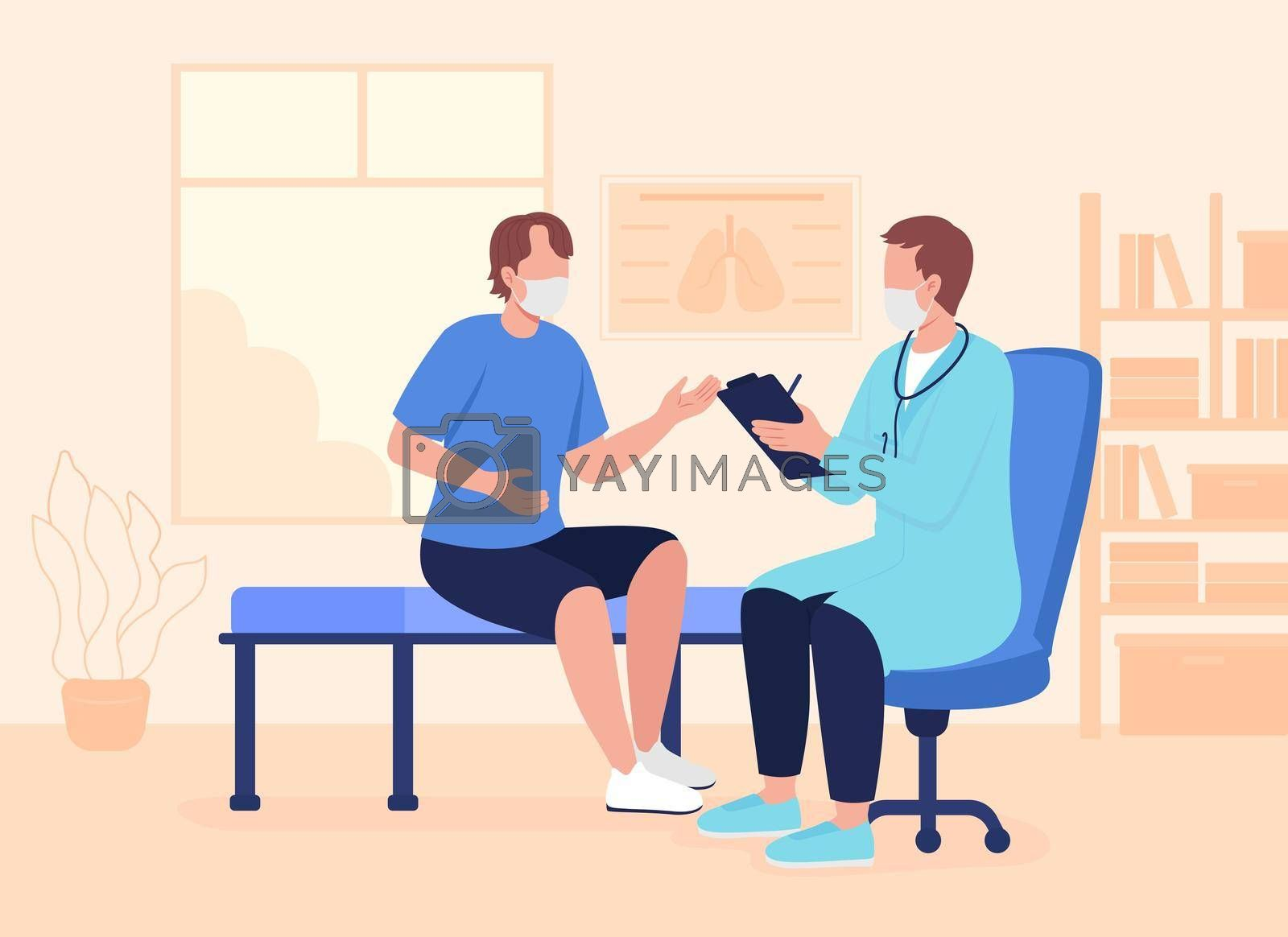 Royalty free image of Physician appointment during pandemic flat color vector illustration by ntl