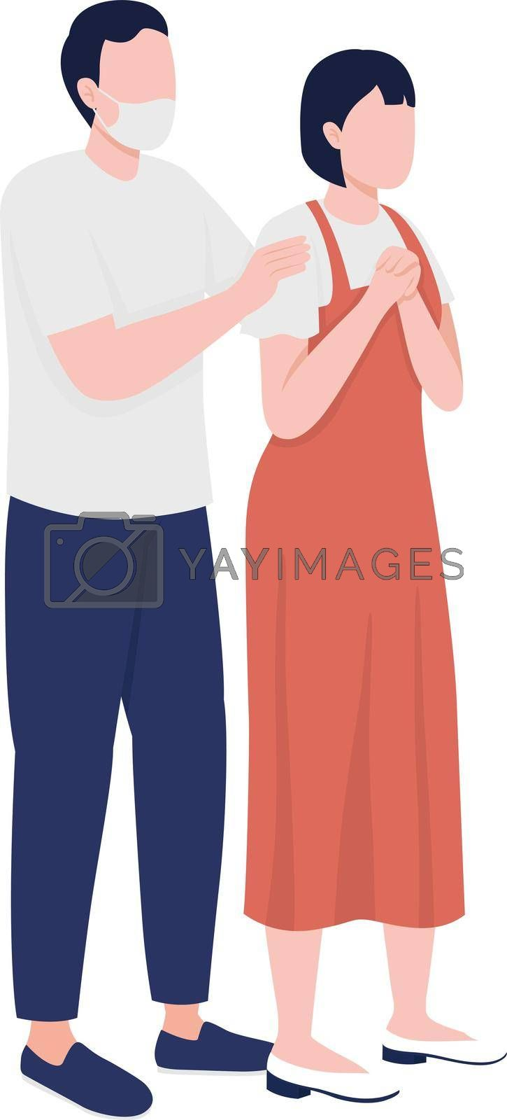 Royalty free image of Worried parents semi flat color vector characters by ntl