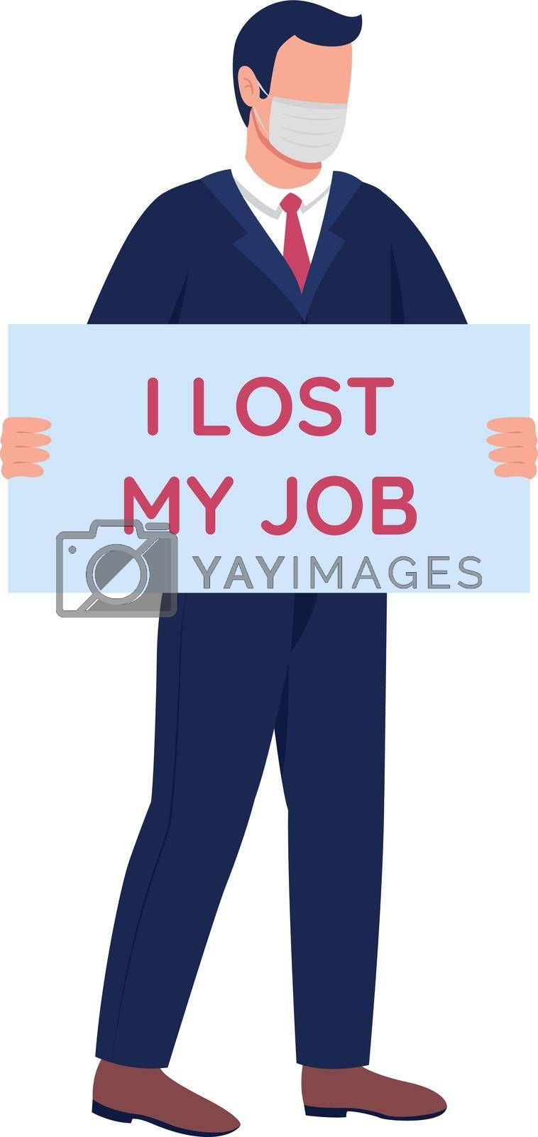 Royalty free image of Man in mask fired from job flat color vector faceless character by ntl