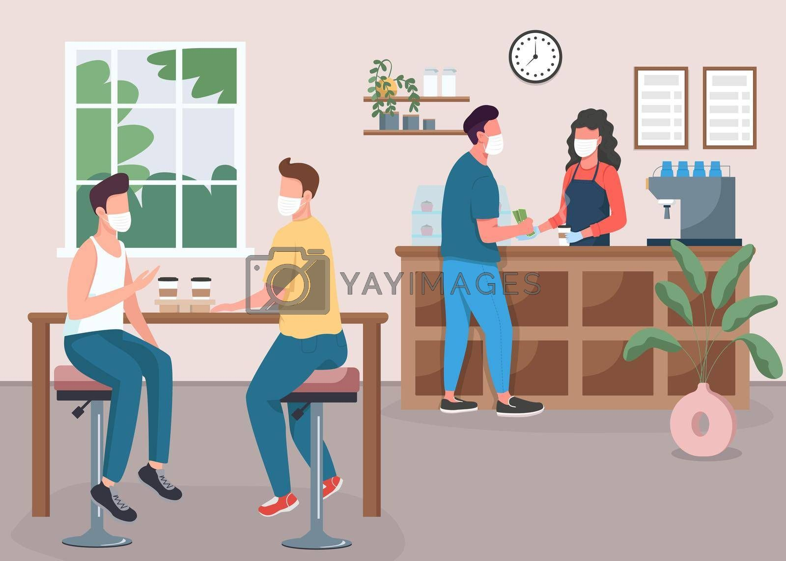 Royalty free image of Coffee shop during pandemic flat color vector illustration by ntl