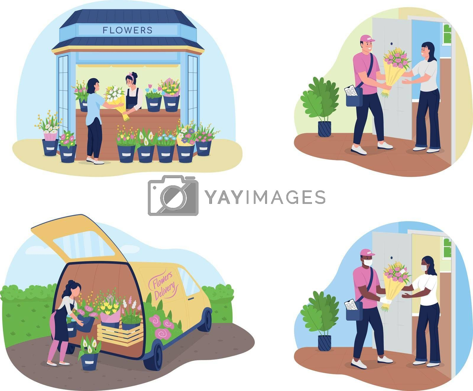 Royalty free image of Flower delivery service 2D vector web banner, poster set by ntl
