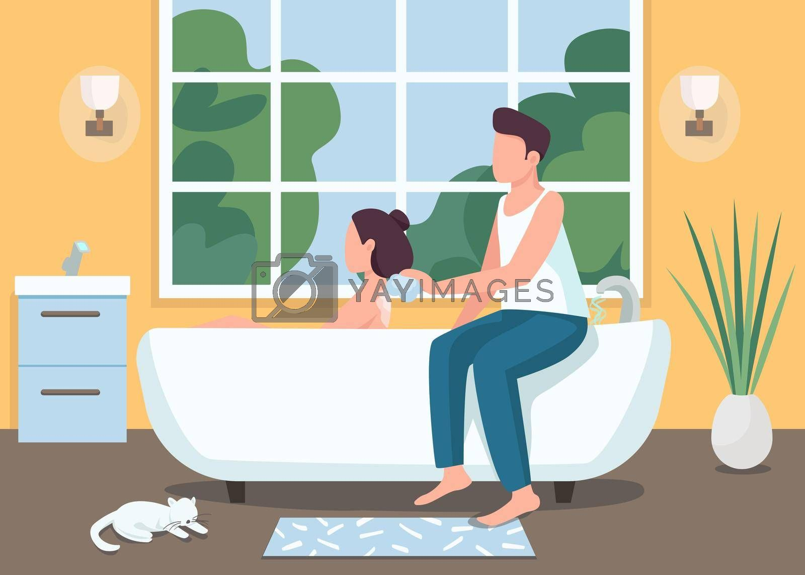 Royalty free image of Couple taking bath together flat color vector illustration by ntl