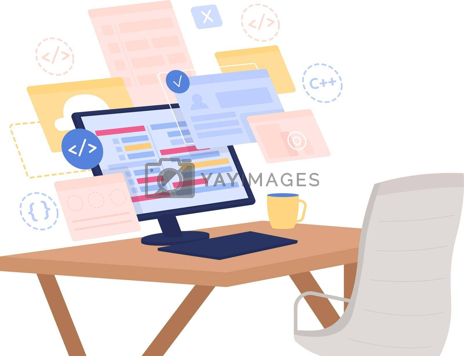 Royalty free image of Software development course flat concept vector illustration by ntl