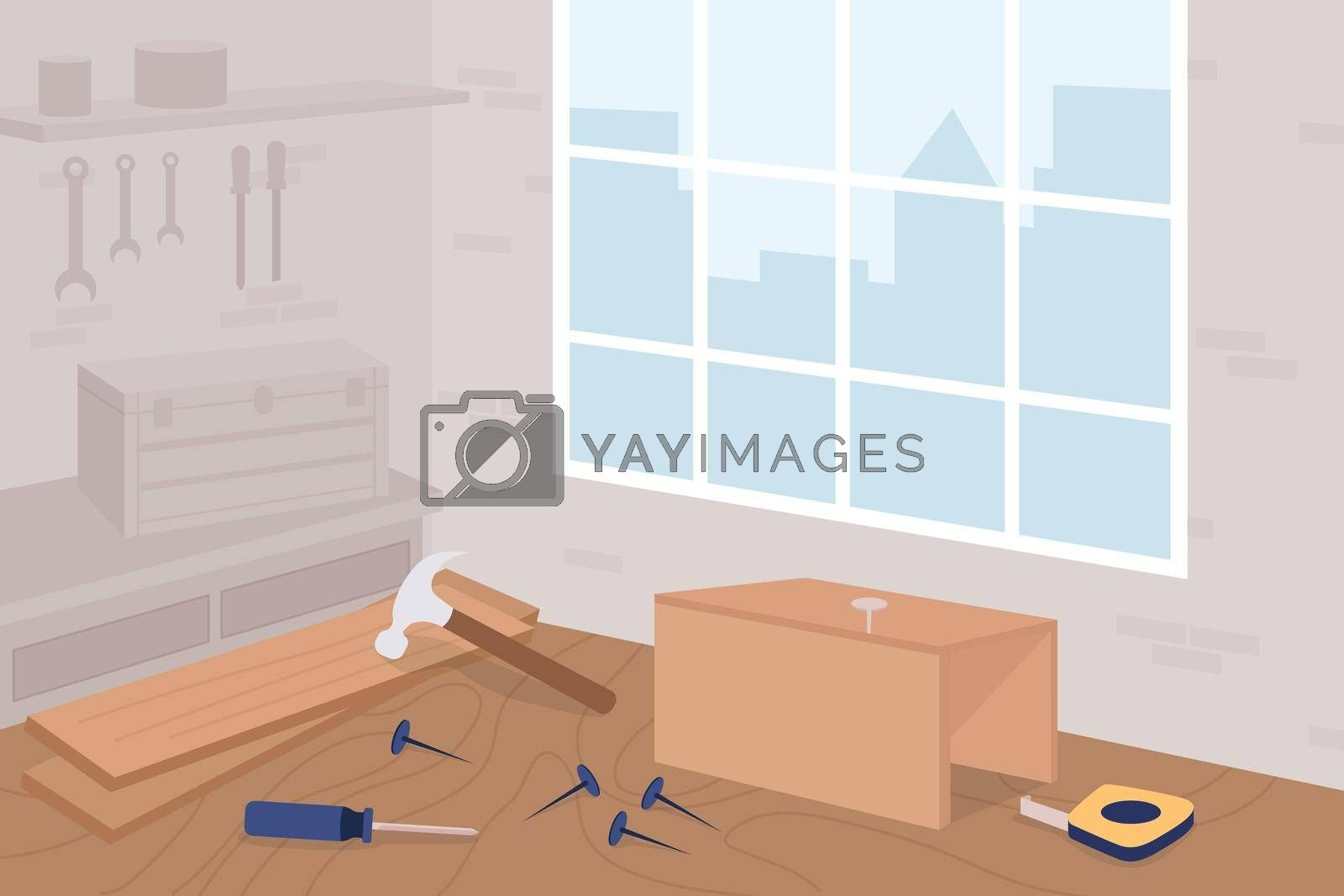 Royalty free image of Carpentry workshop class flat color vector illustration by ntl