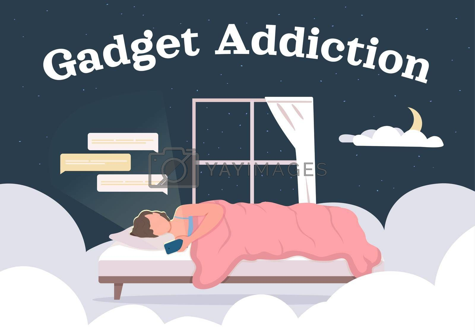 Royalty free image of Gadget and social media addiction poster flat vector template by ntl