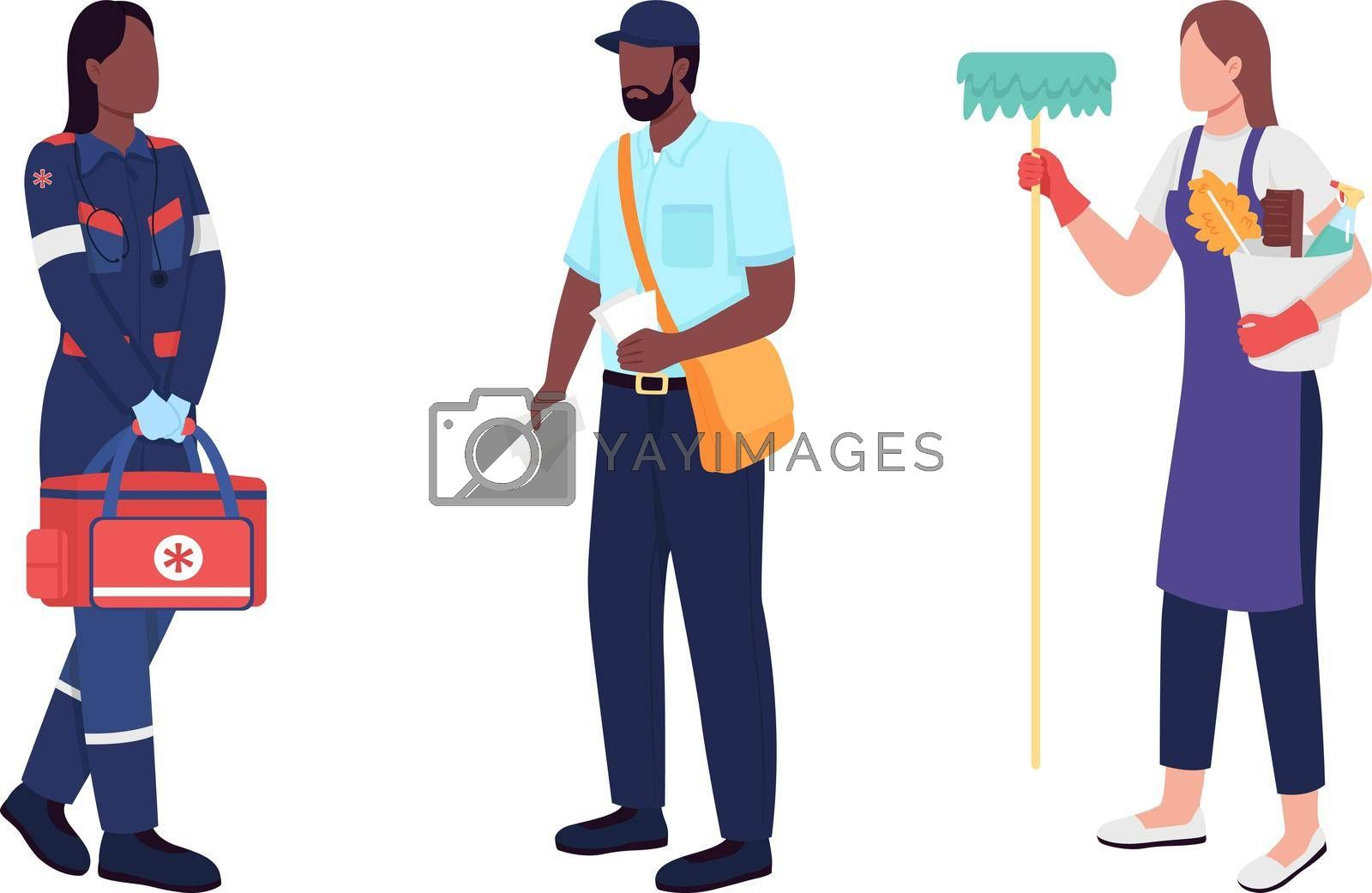 Royalty free image of Key workers flat color vector faceless character set by ntl