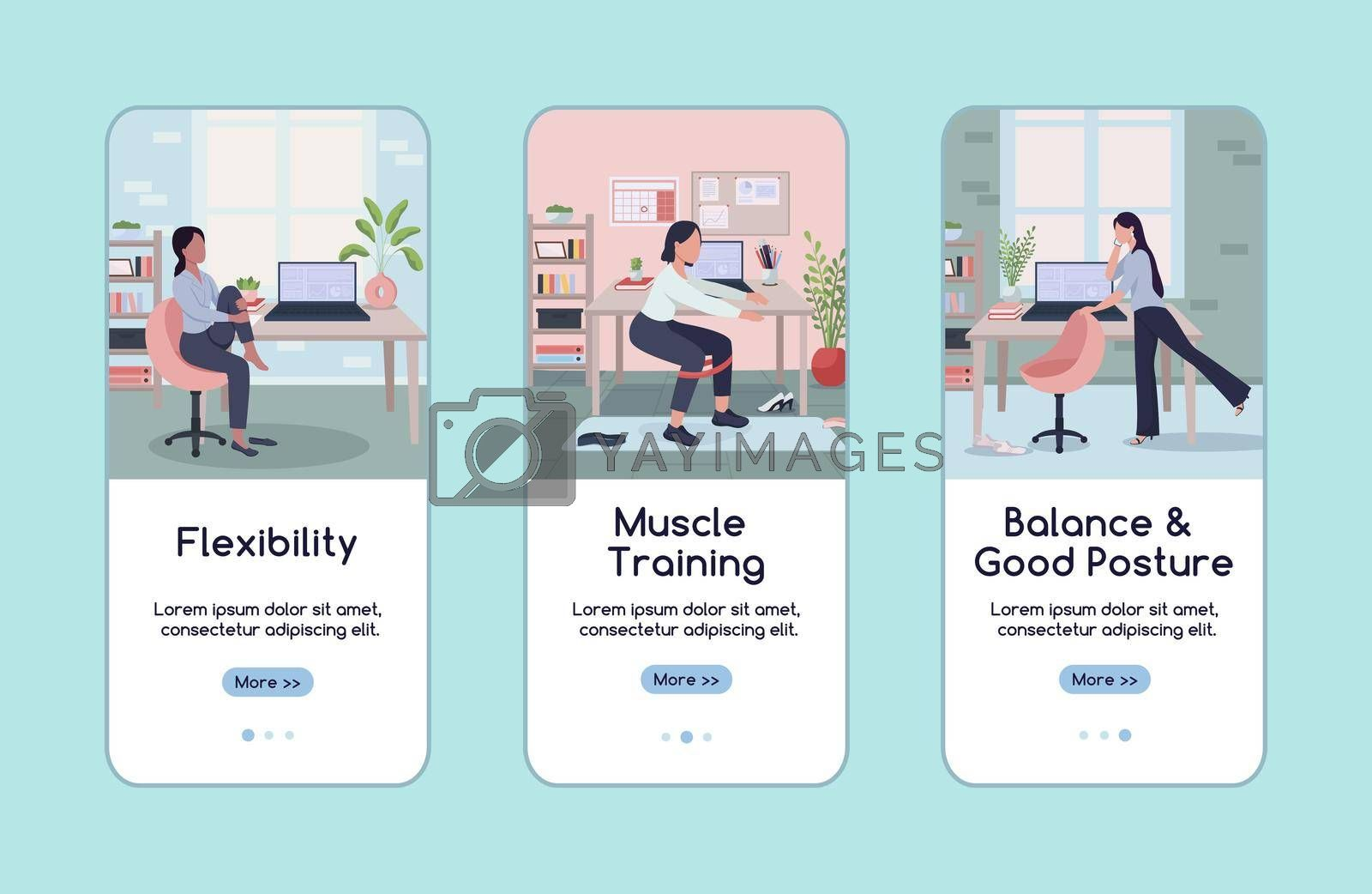 Royalty free image of Workout in workplace onboarding mobile app screen flat vector template by ntl