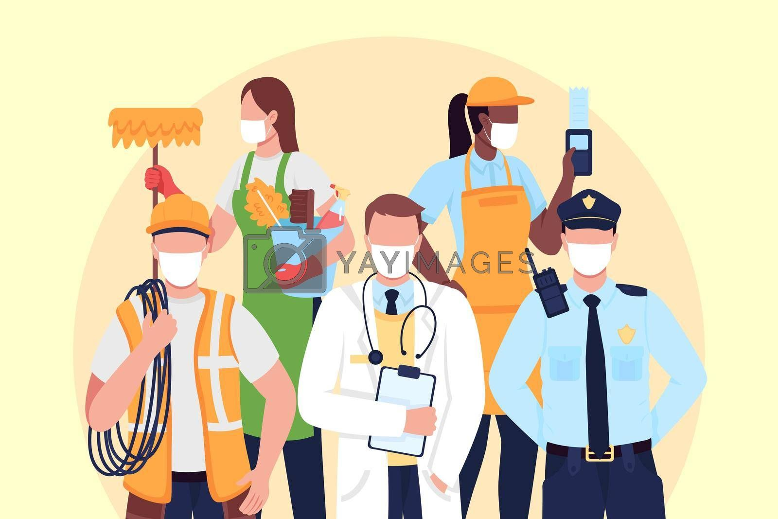 Royalty free image of Essentials workers flat concept vector illustration by ntl