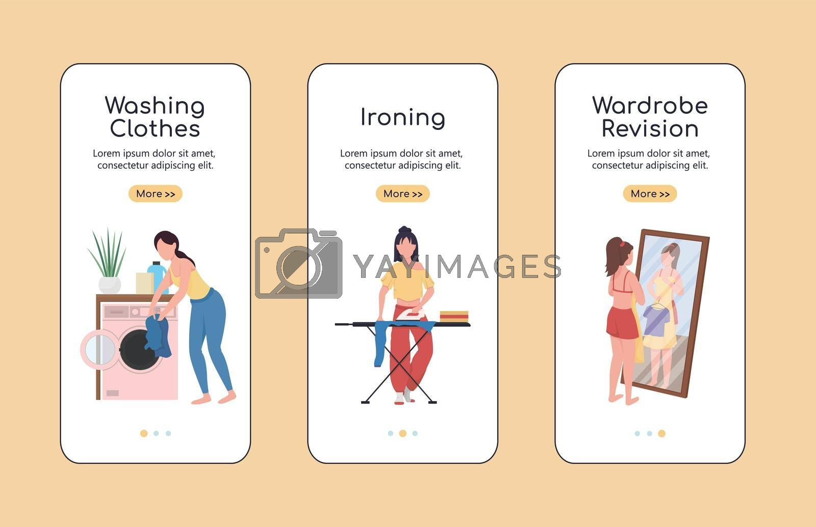 Royalty free image of Clothes revision onboarding mobile app screen flat vector template by ntl