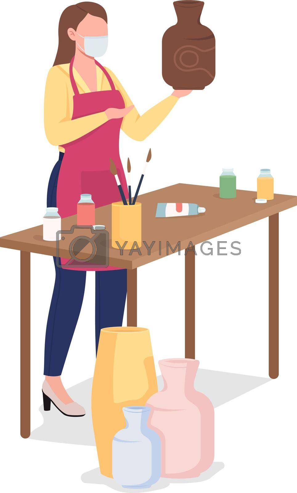 Royalty free image of Woman painting clay vase flat color vector faceless character by ntl