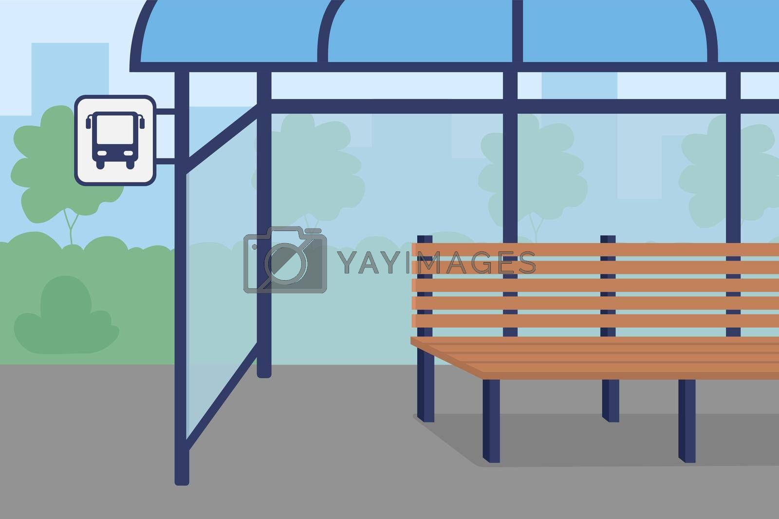 Royalty free image of Bus stop flat color vector illustration by ntl
