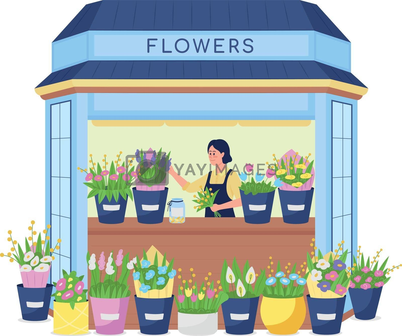 Royalty free image of Florist in flower kiosk flat color vector detailed character by ntl