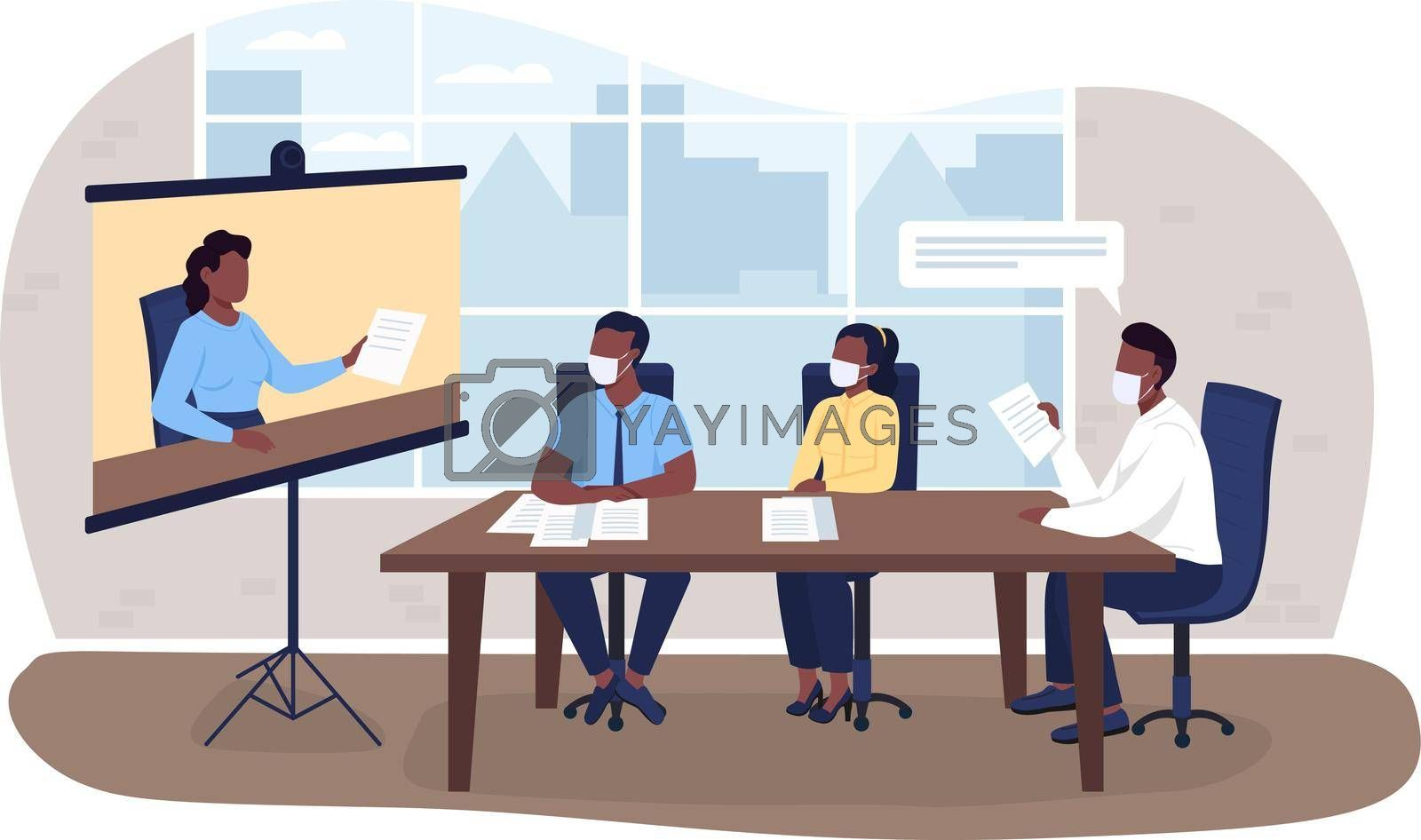 Royalty free image of Virtual business meeting during pandemic 2D vector web banner, poster by ntl