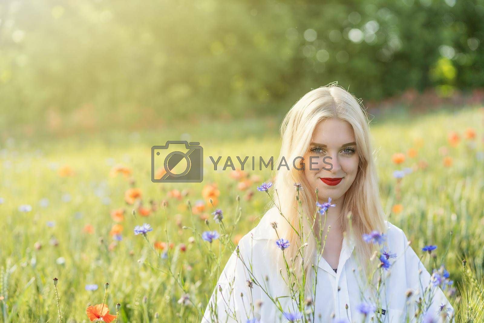 Royalty free image of Blonde young woman posing in summer flower meadow.  by Frank11