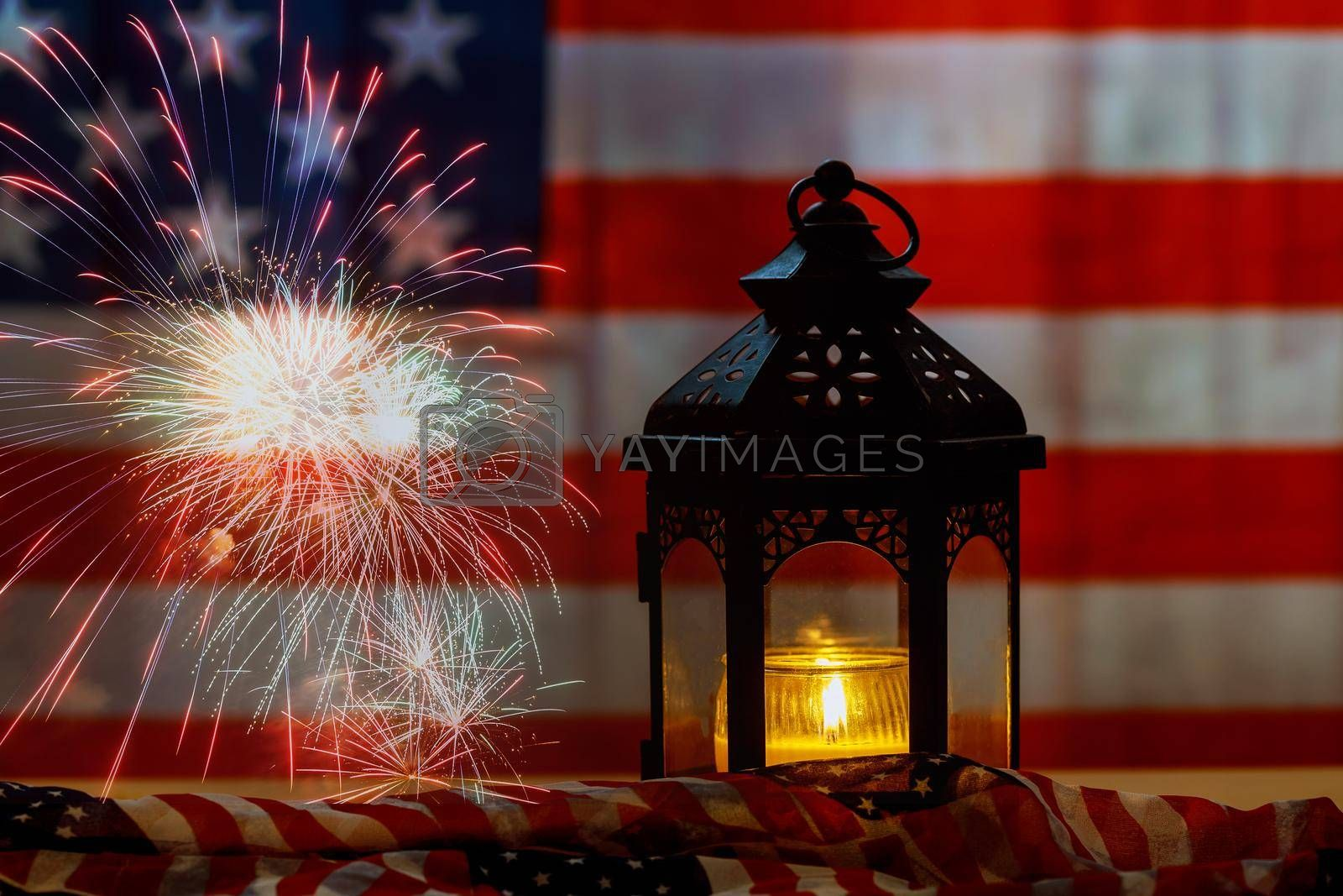 American flag background on Memorial day honor respect patriotic military US in Candle memory
