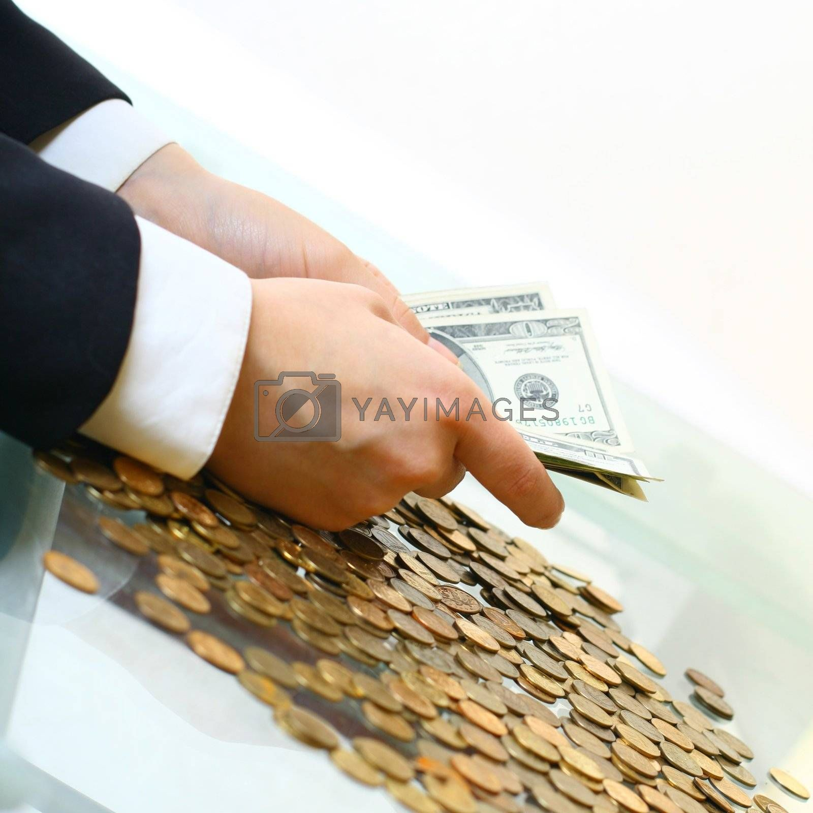 hands counting dollar money on white background