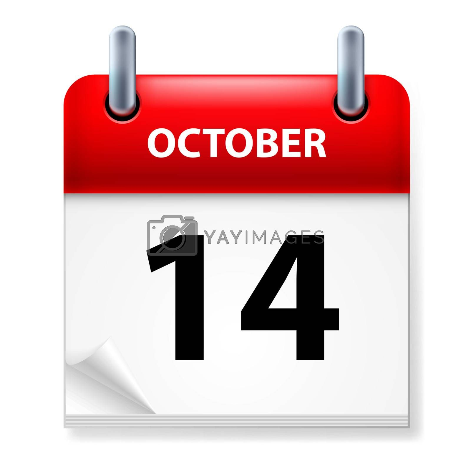 Fourteenth October in Calendar icon on white background