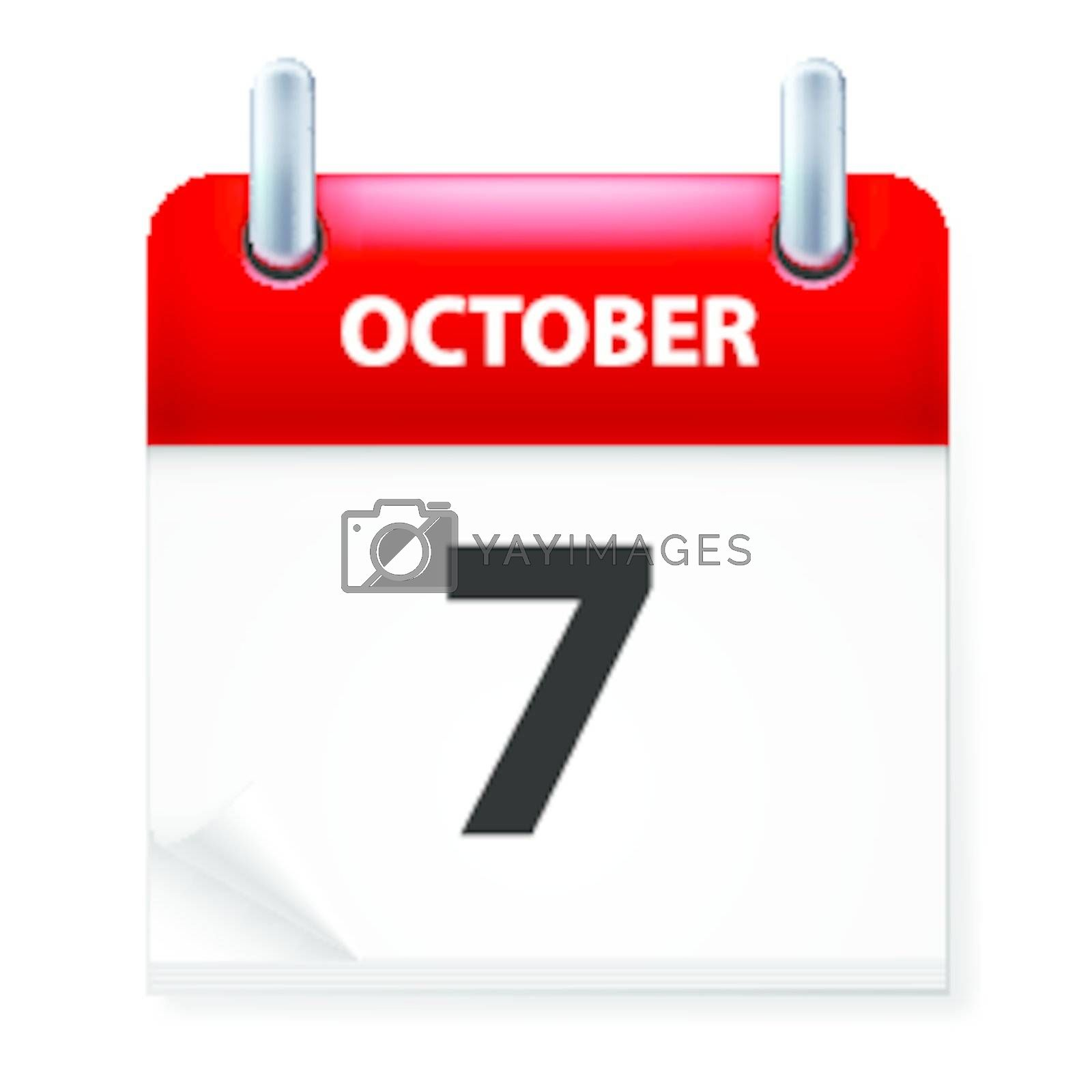 Seventh  October in Calendar icon on white background