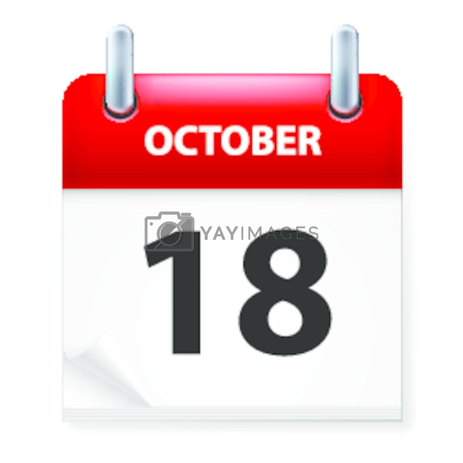 Eighteenth October in Calendar icon on white background