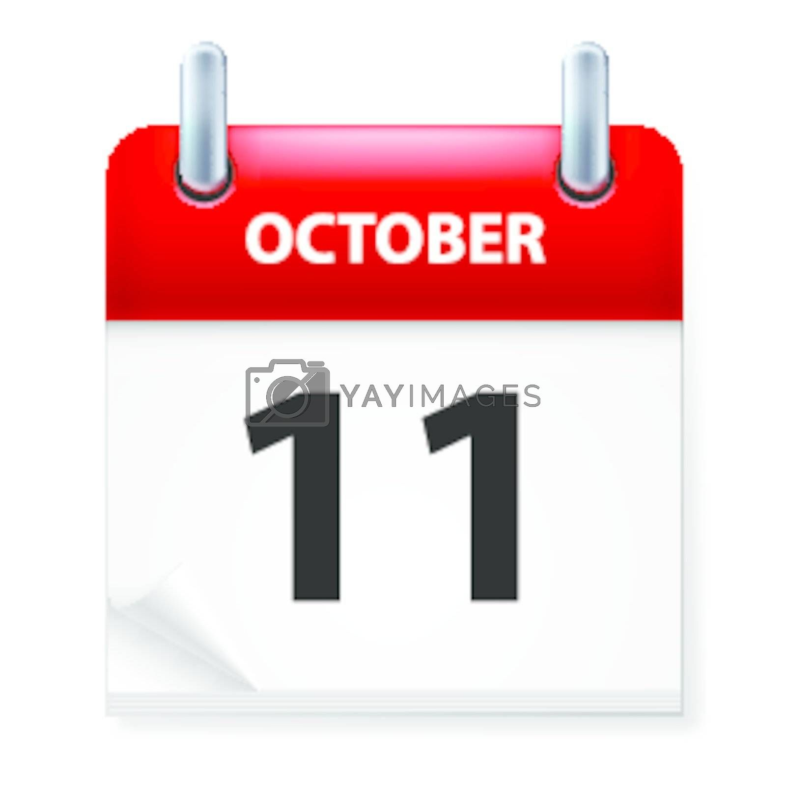 Eleventh October in Calendar icon on white background