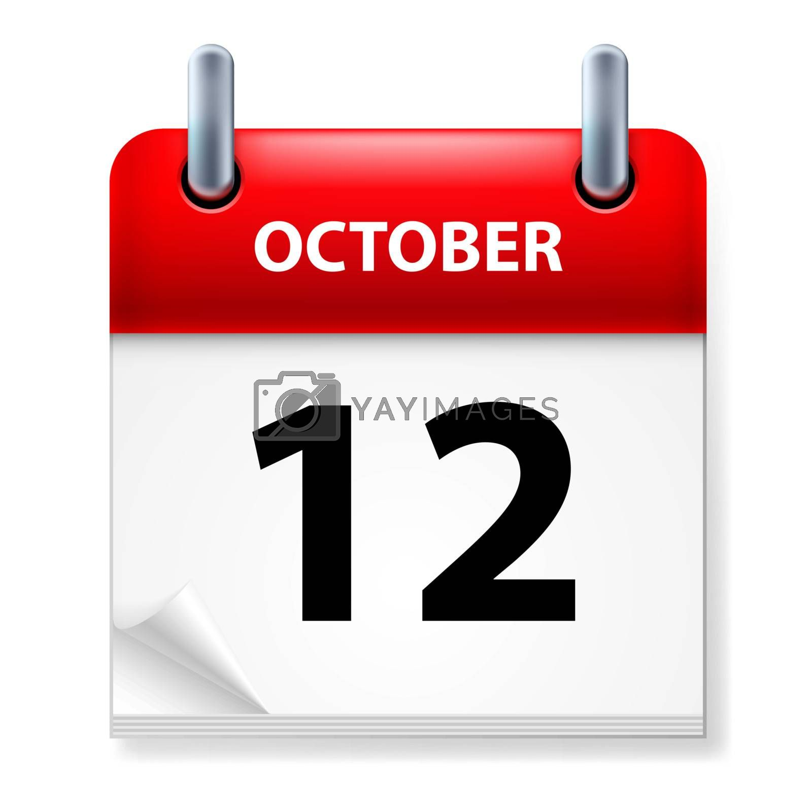 Twelfth October in Calendar icon on white background
