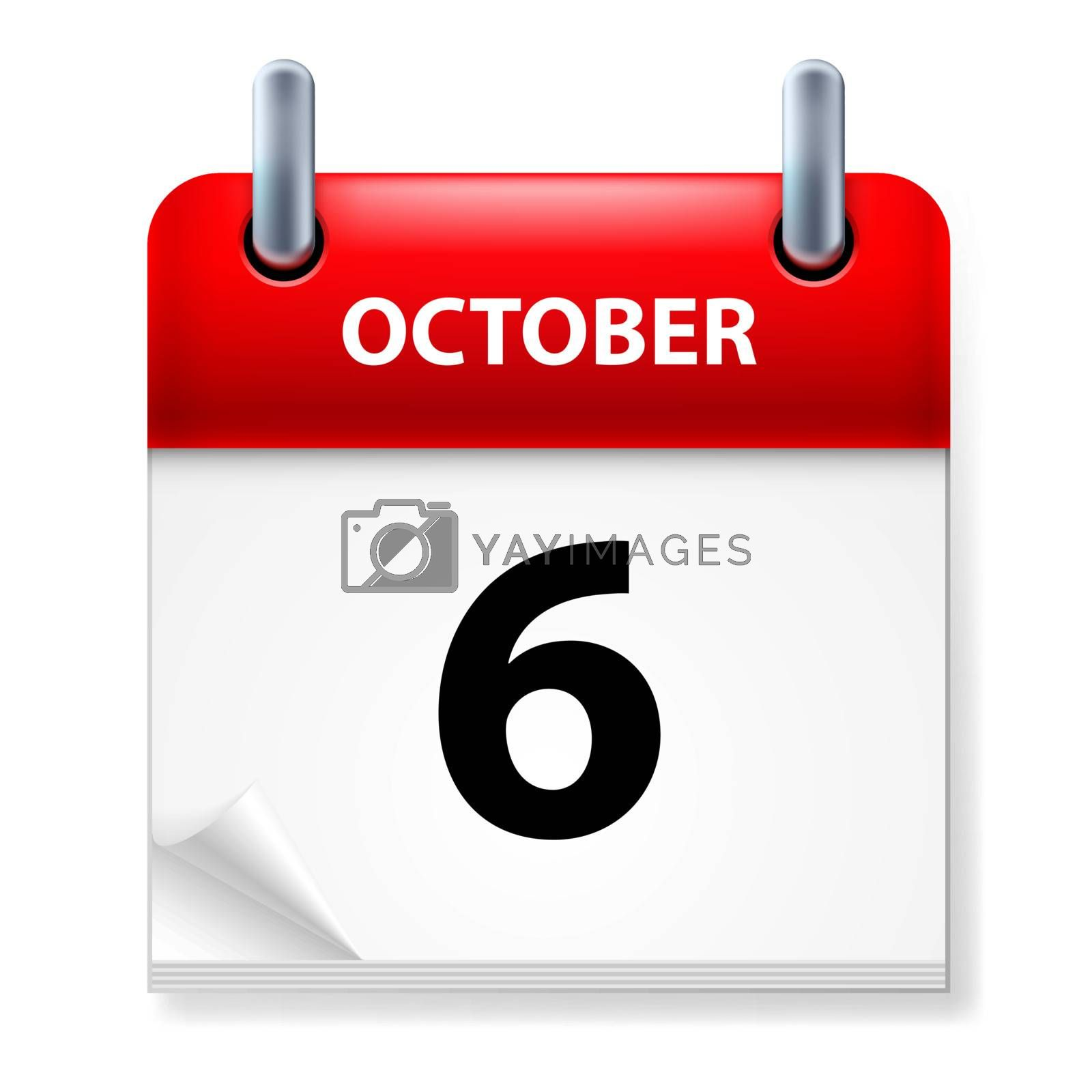 Sixth October in Calendar icon on white background