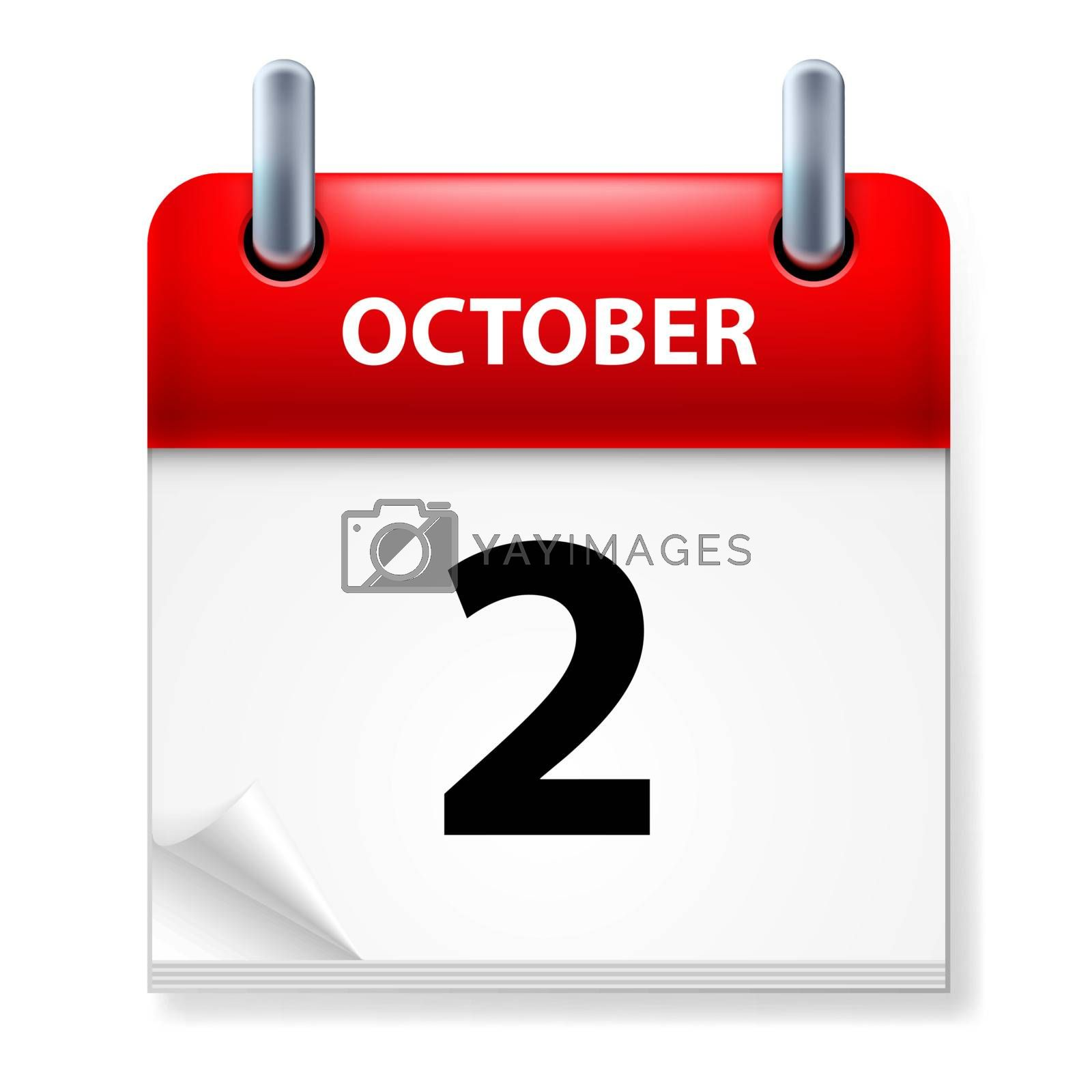 Second  October in Calendar icon on white background