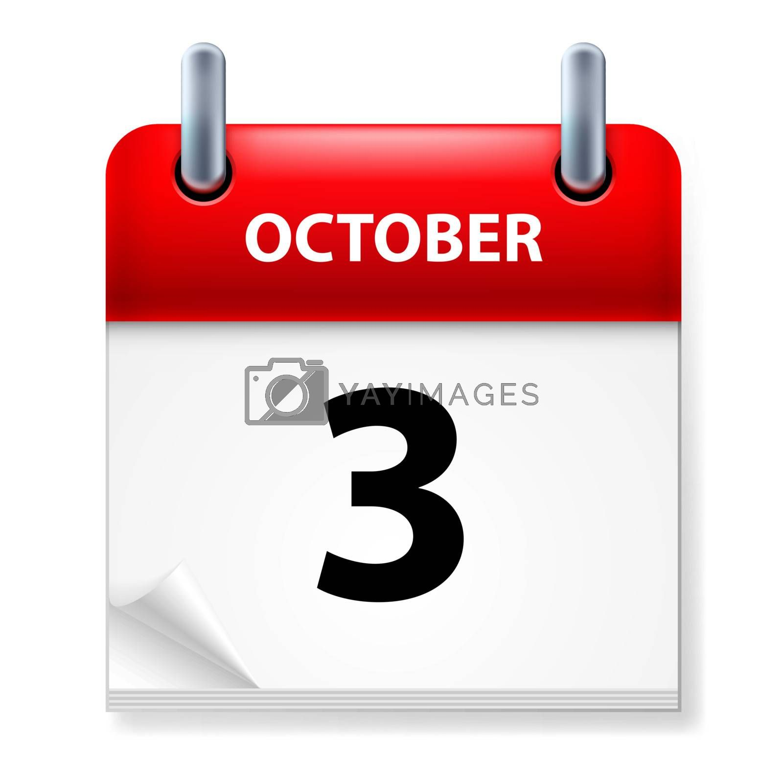 Third October in Calendar icon on white background