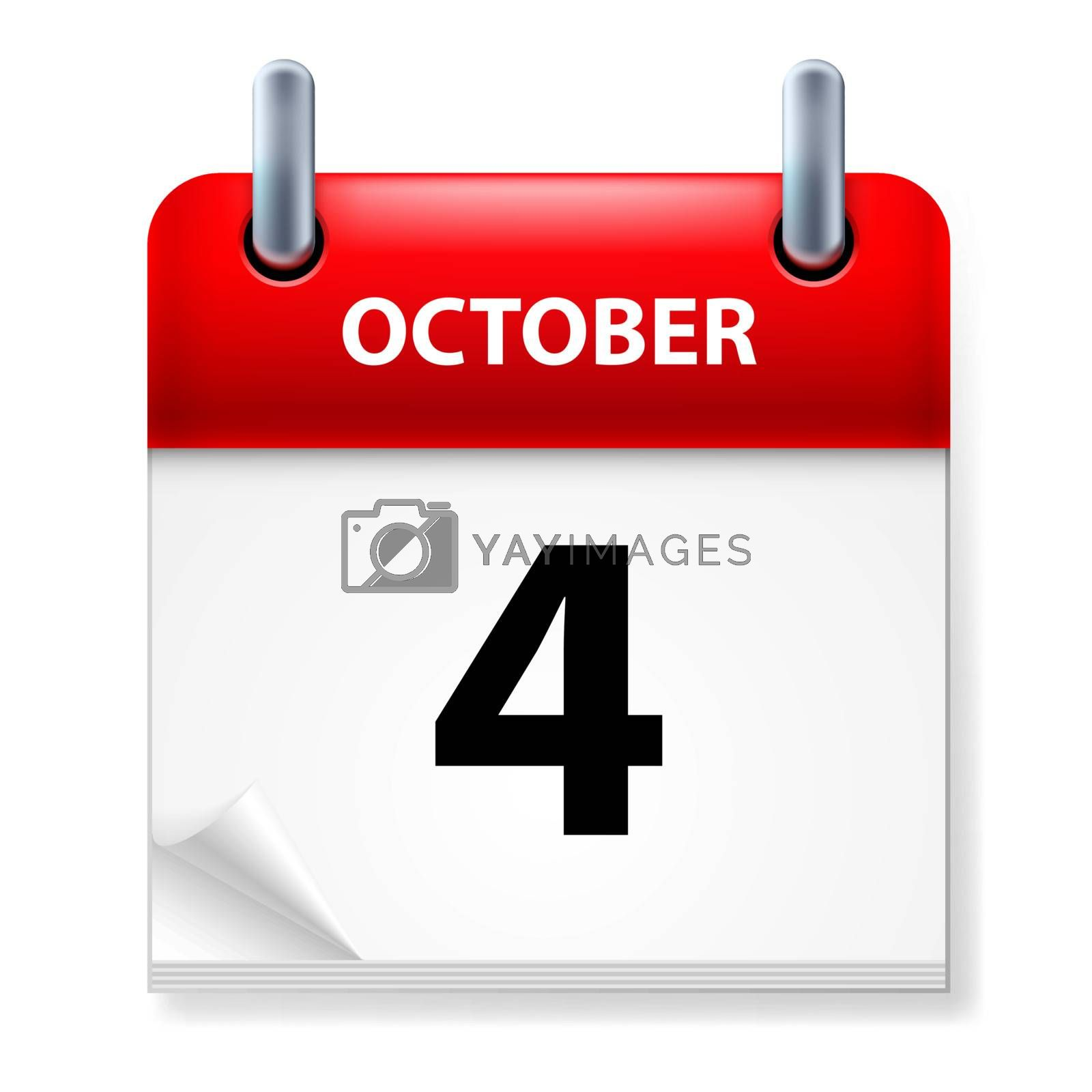 Fourth October in Calendar icon on white background
