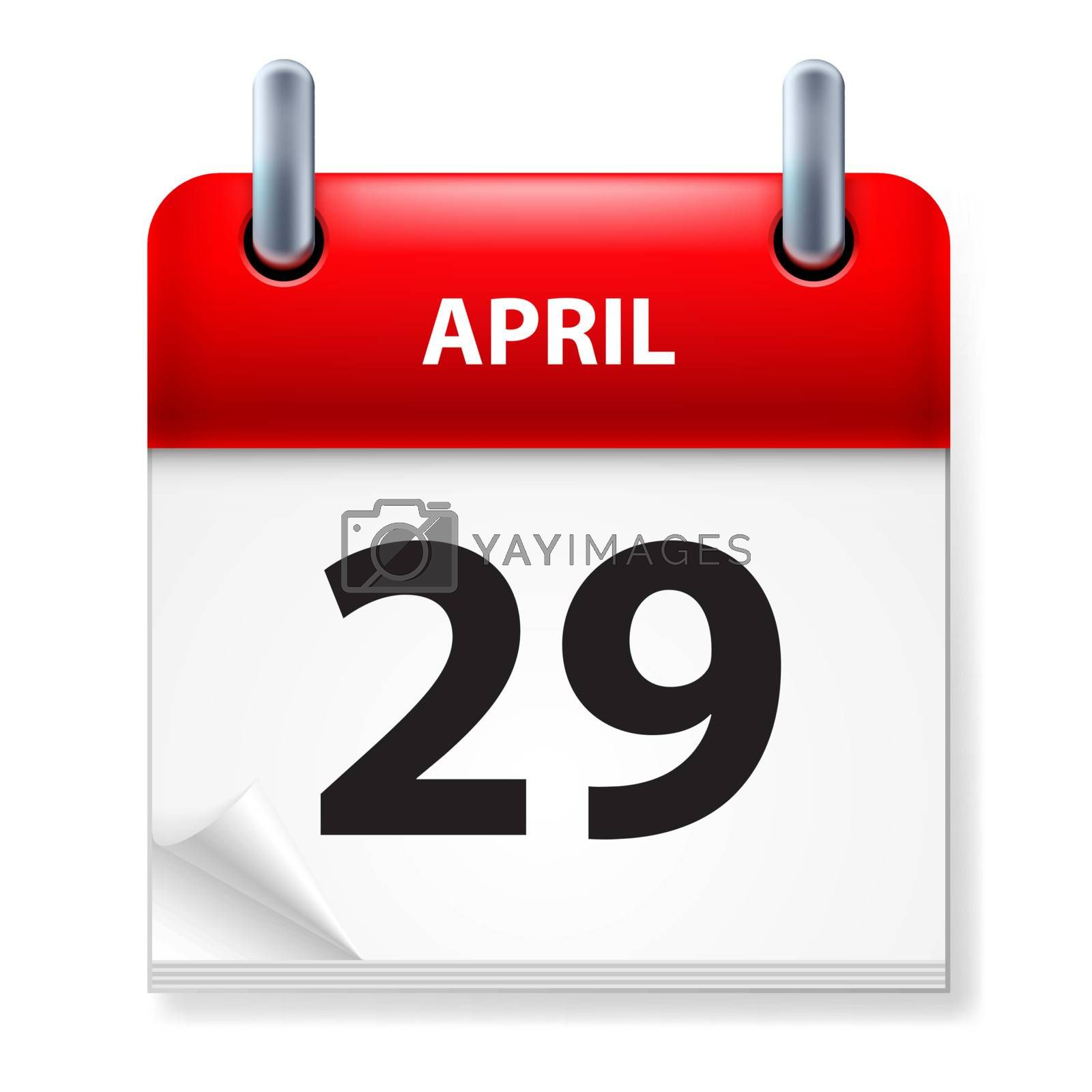 Twenty-ninth in April Calendar icon on white background