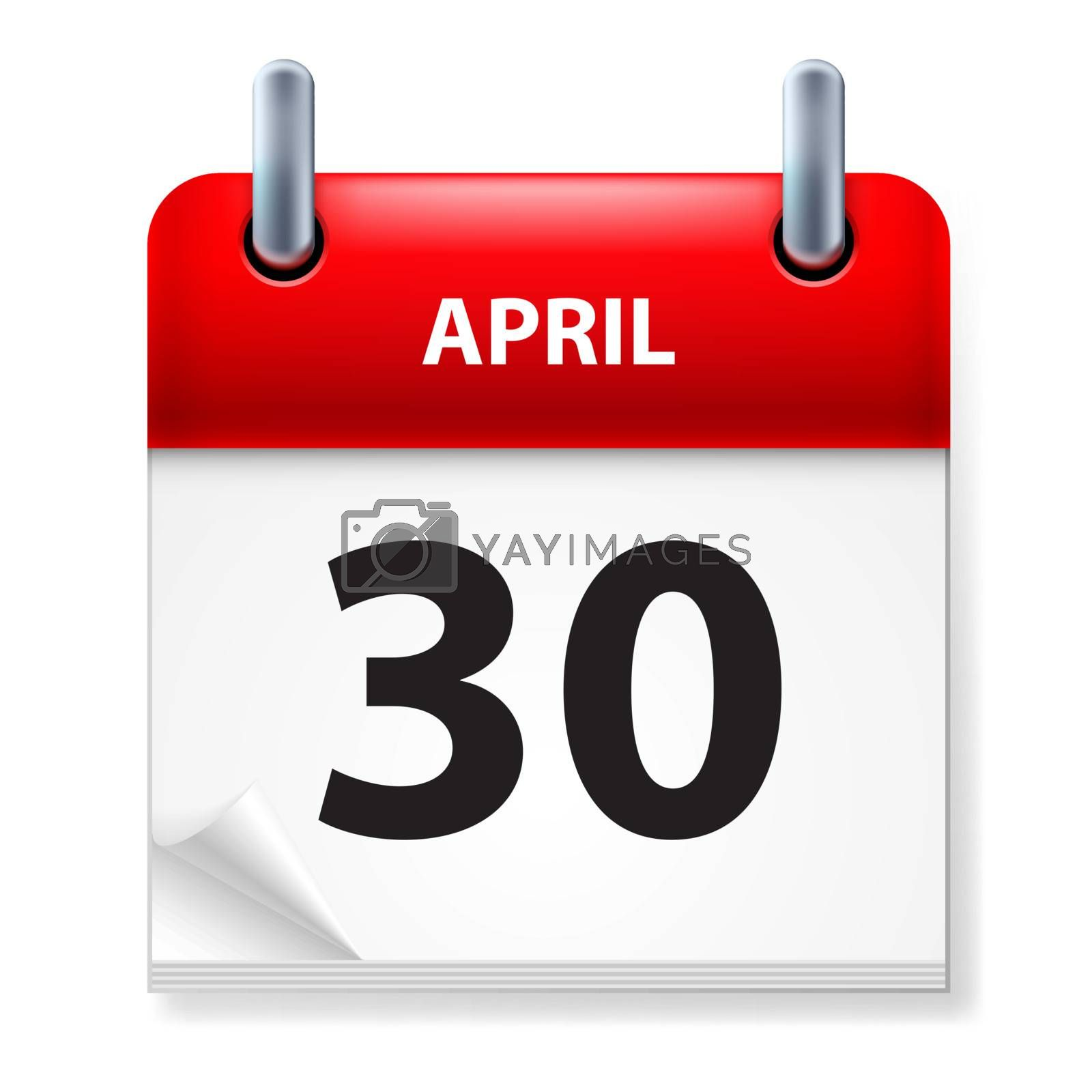 Thirtieth in April Calendar icon on white background
