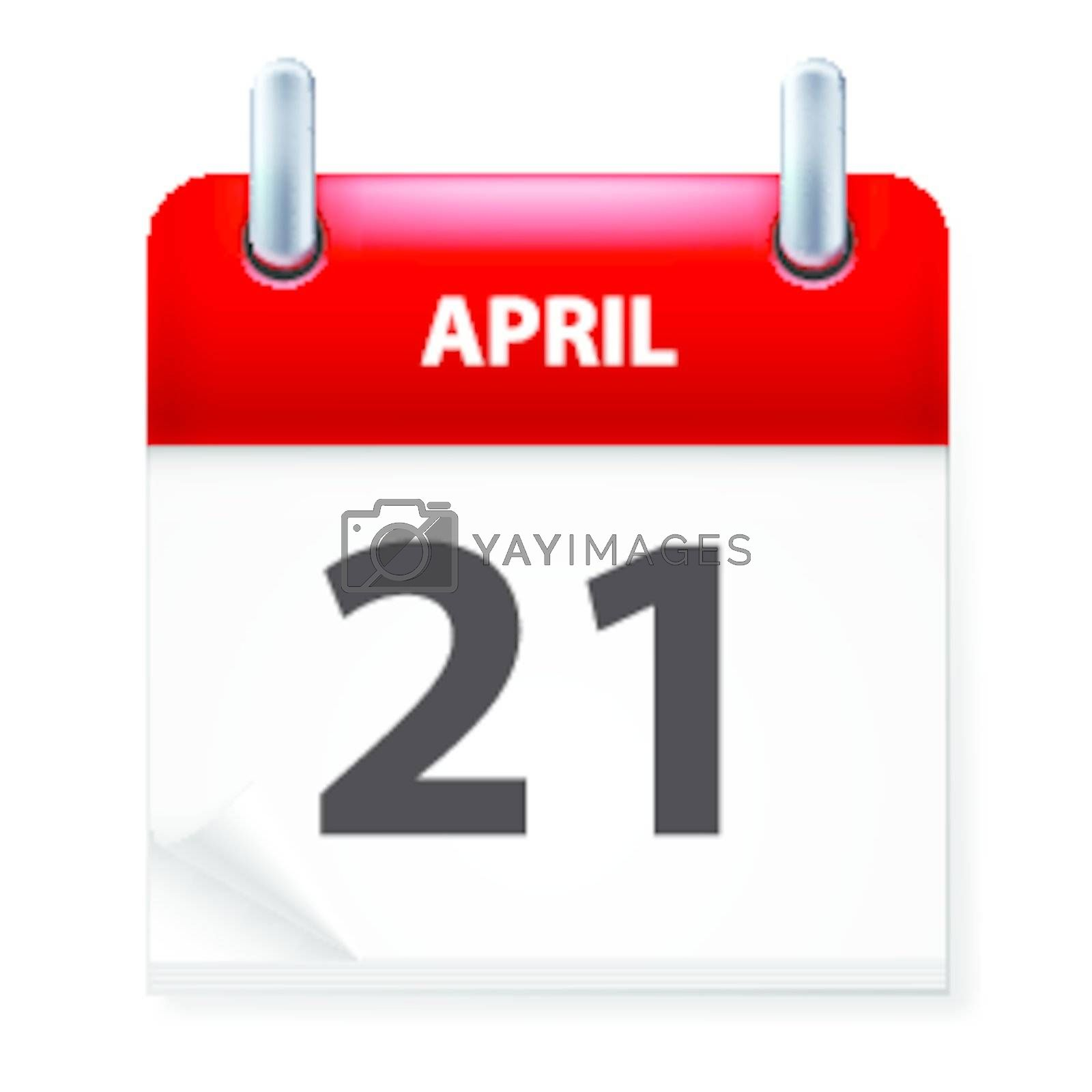 Twenty-first in April Calendar icon on white background