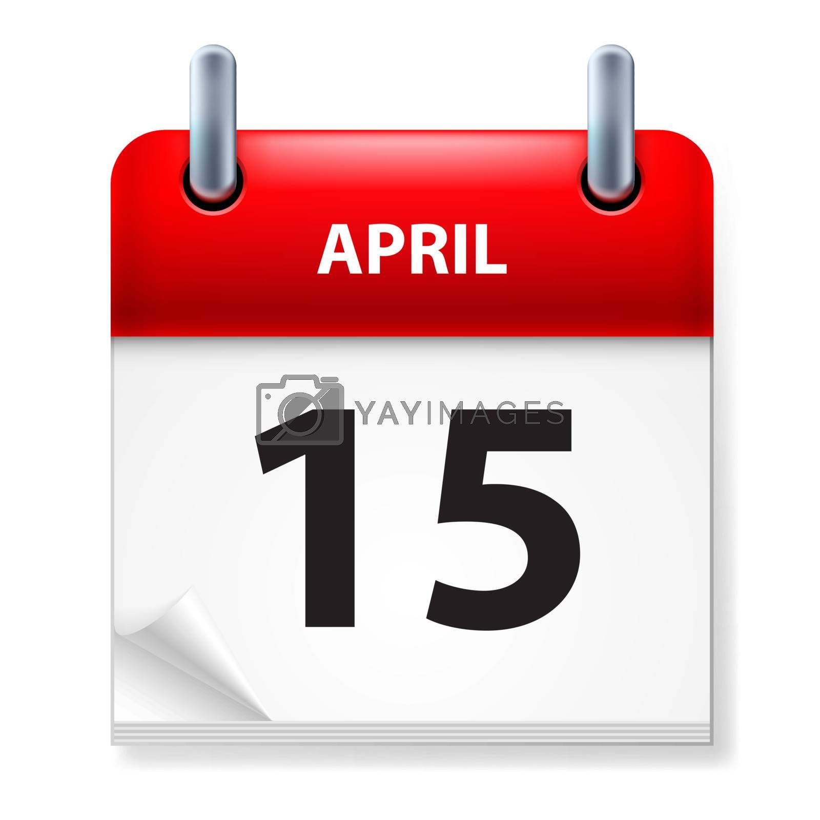 Fifteenth of April Calendar icon on white background