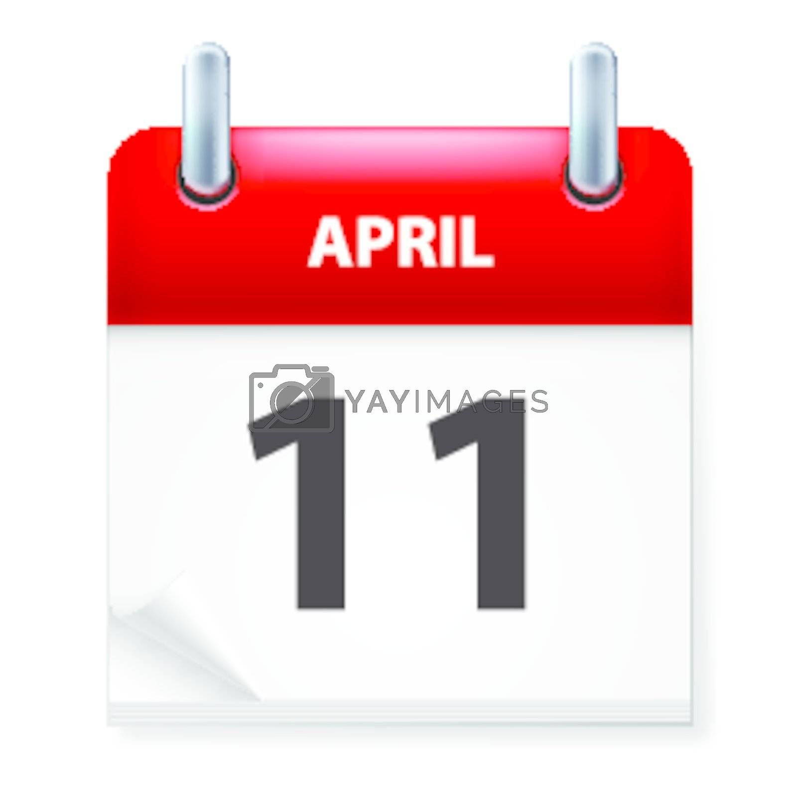 Eleventh in April Calendar icon on white background