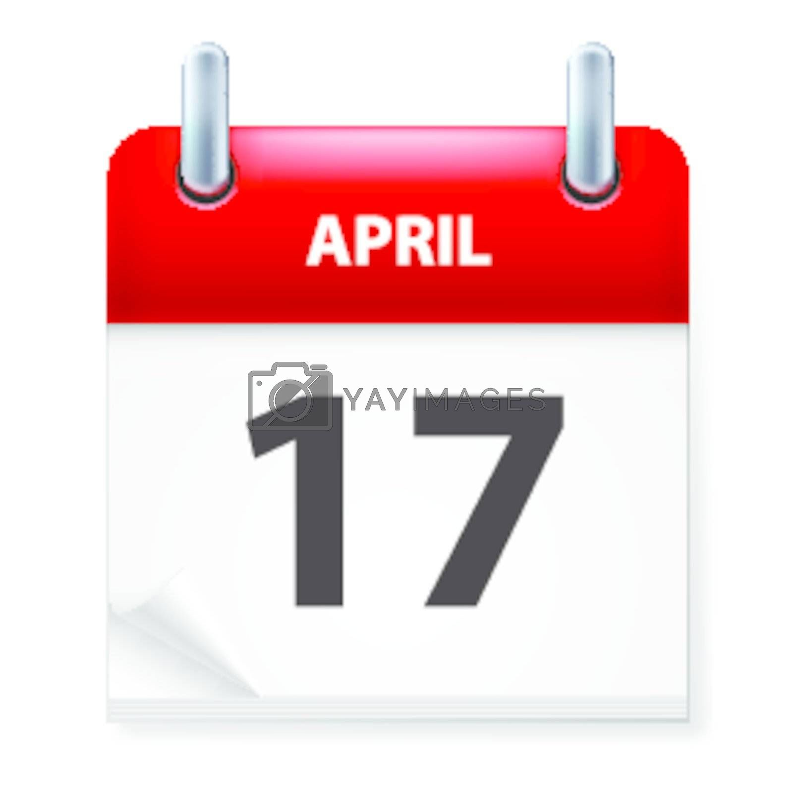 Seventeenth in April Calendar icon on white background