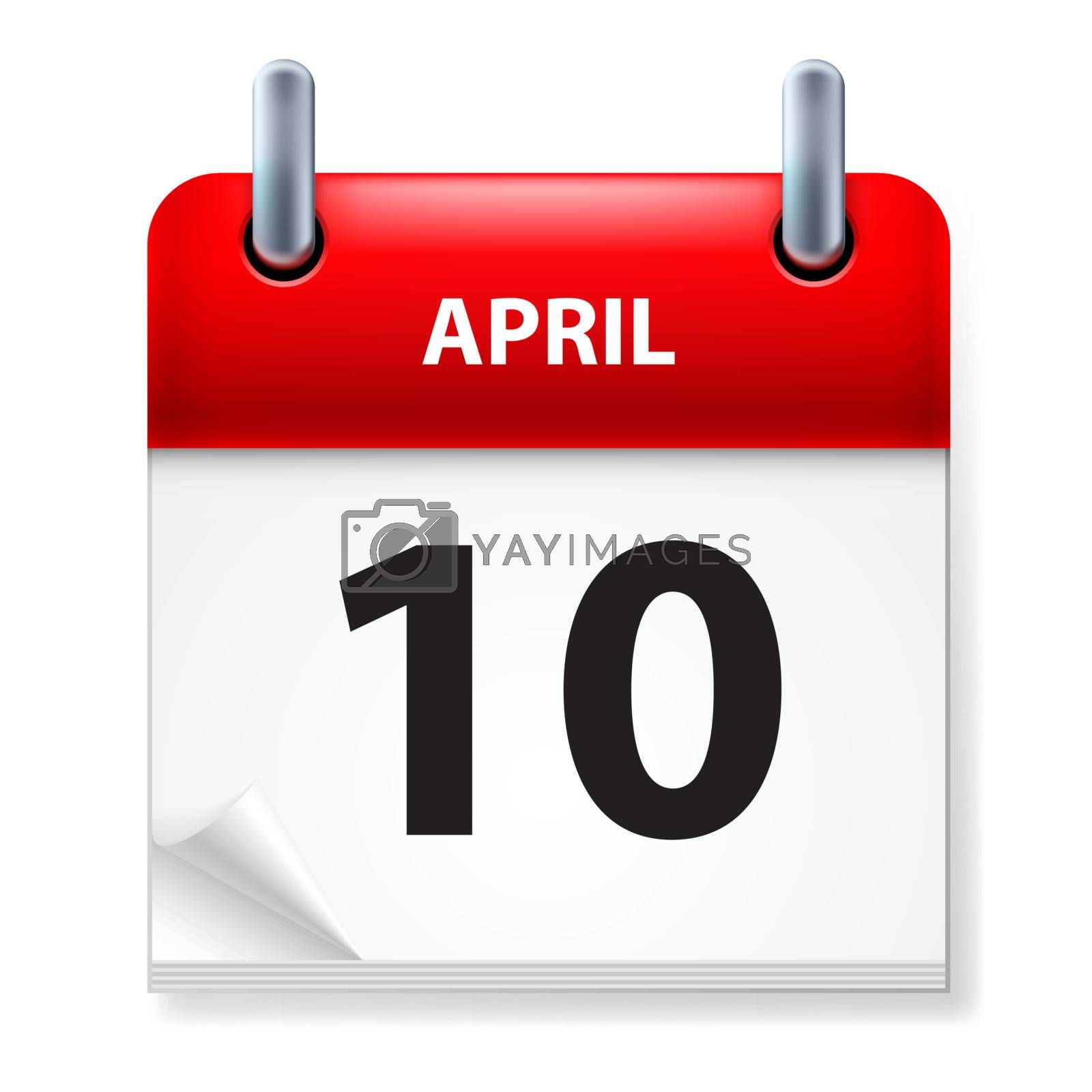 Tenth in April Calendar icon on white background