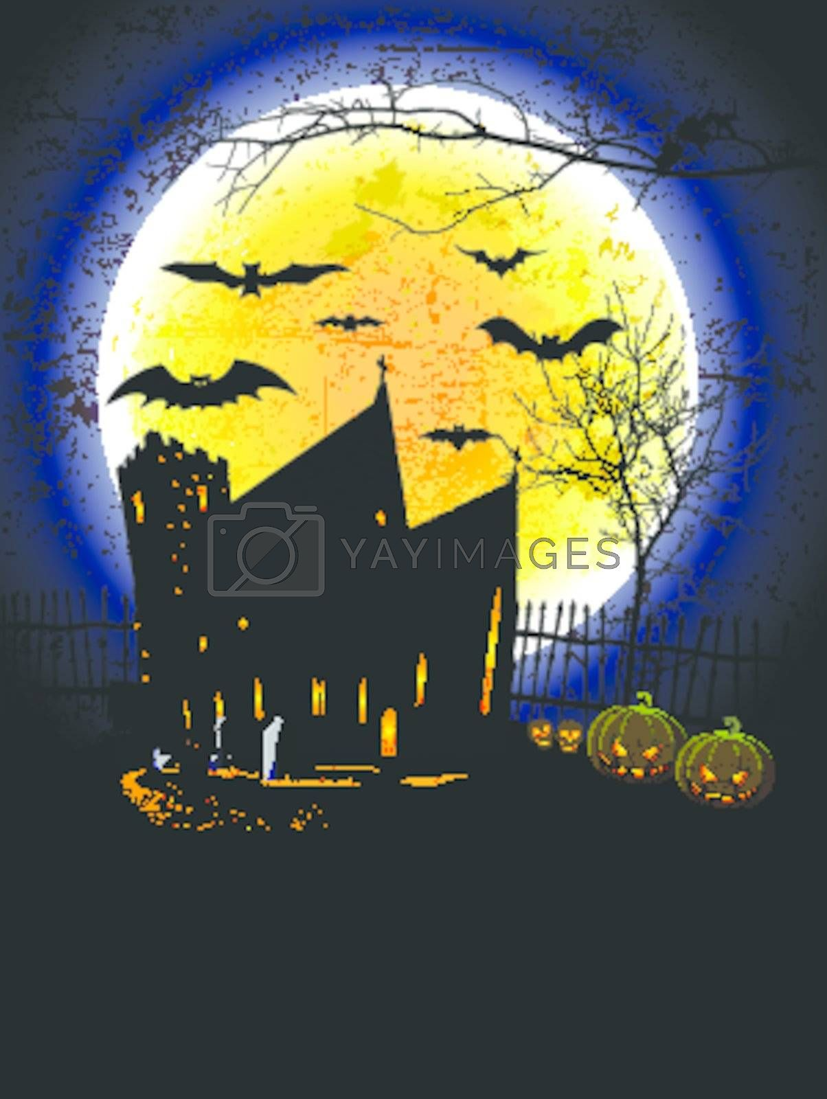 Halloween Background with haunted house and Grunge Effect