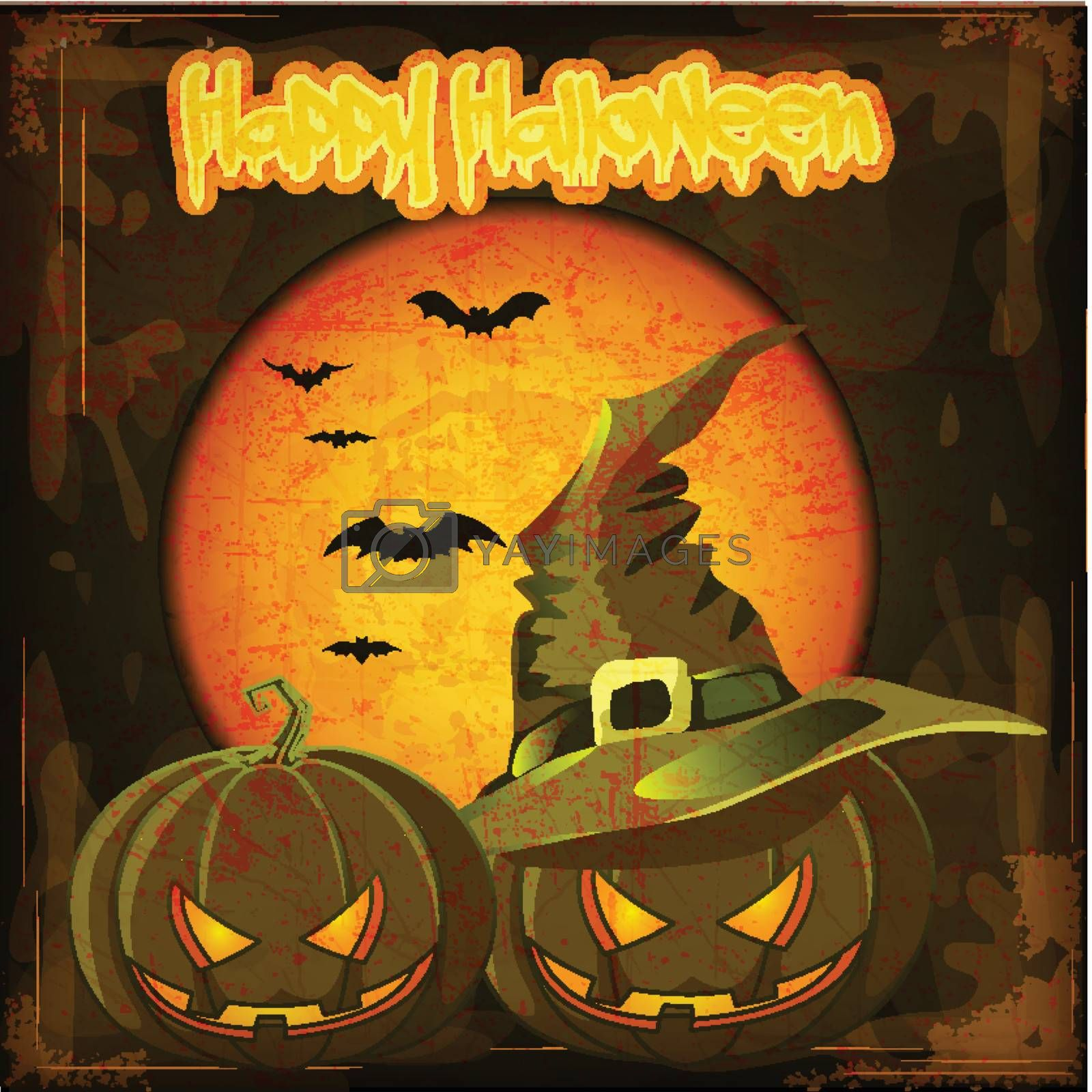 Halloween pumpkin with witches hat and Grunge Effect