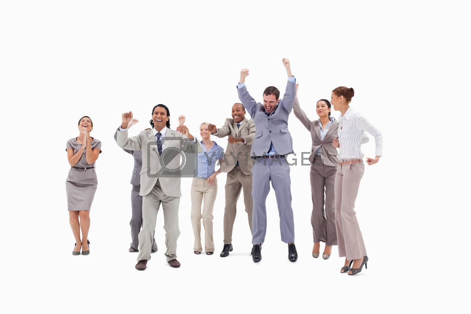 Very enthusiast people jumping and raising their arms against white background